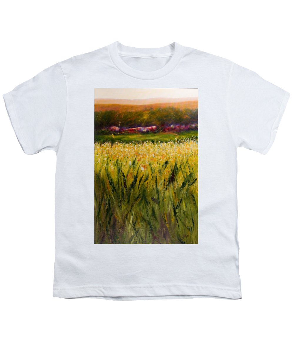 Landscape Youth T-Shirt featuring the painting Beyond The Valley by Shannon Grissom