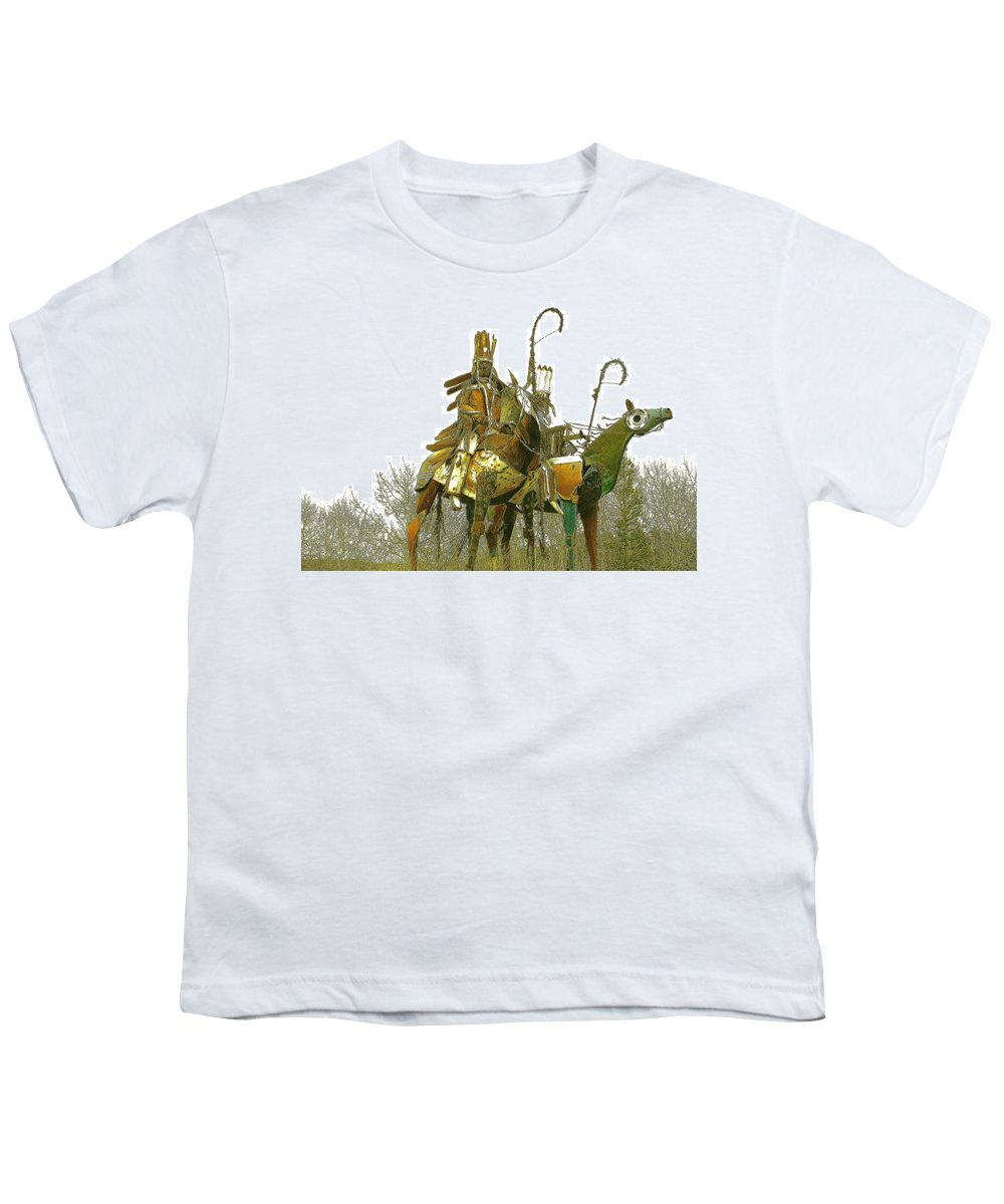 Native American Youth T-Shirt featuring the photograph Blackfeet Wariors by Nelson Strong