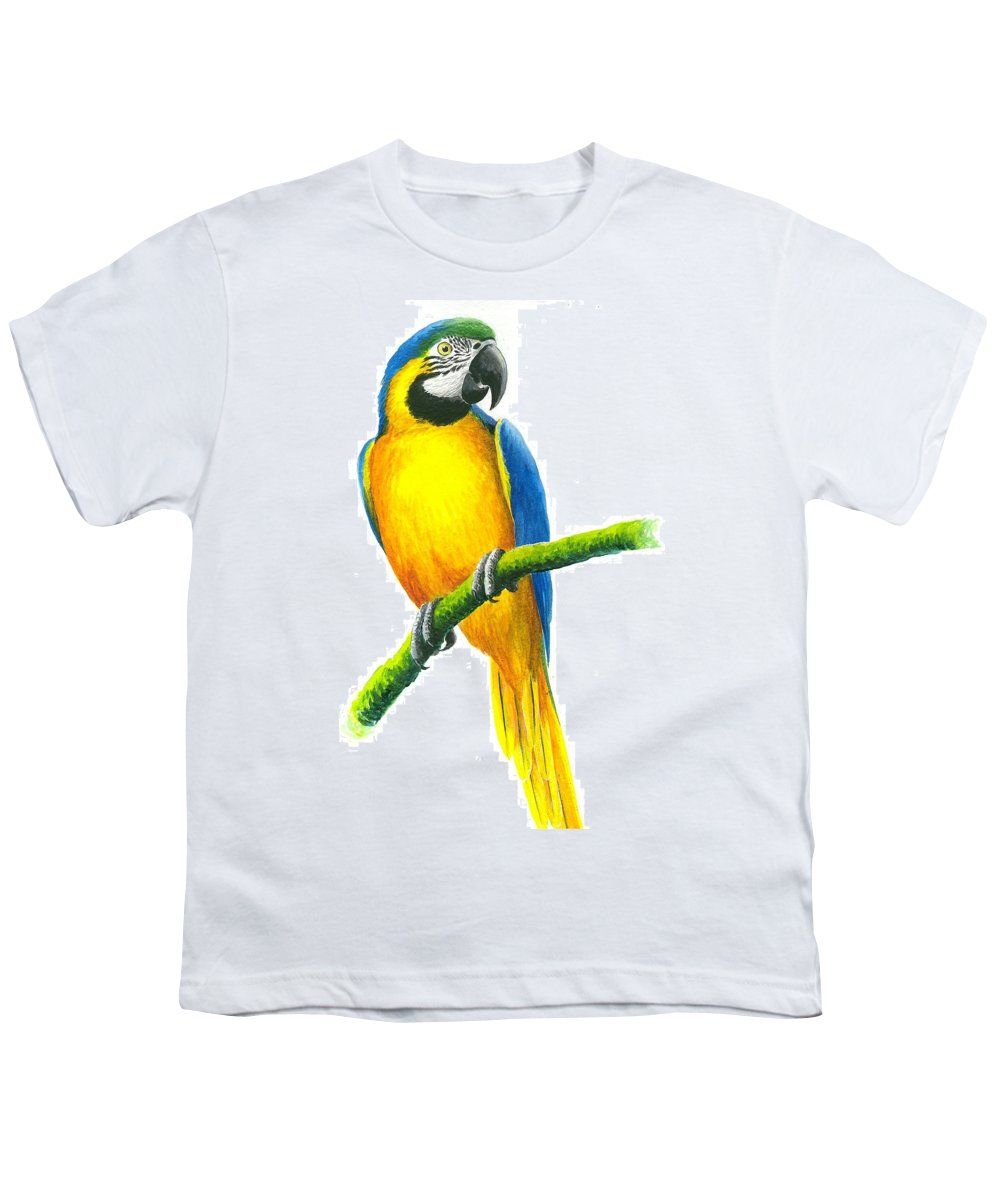 Chris Cox Youth T-Shirt featuring the painting Blue And Gold Macaw by Christopher Cox
