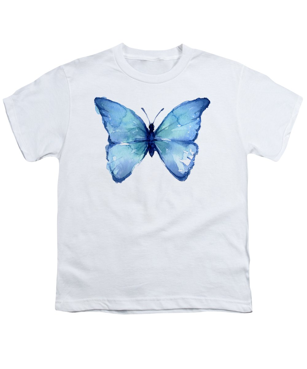 Watercolor Youth T-Shirt featuring the painting Blue Butterfly Watercolor by Olga Shvartsur