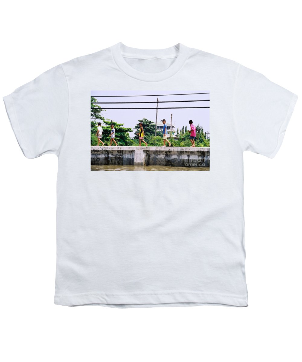 Children Youth T-Shirt featuring the photograph Boys In Bangkok by Mary Rogers