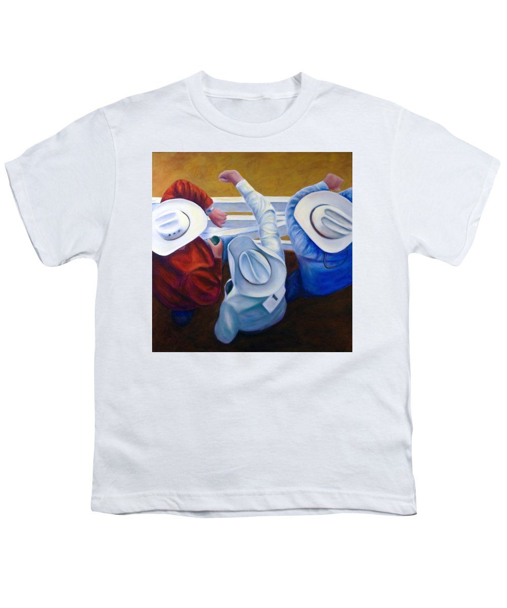 Western Youth T-Shirt featuring the painting Bull Chute by Shannon Grissom