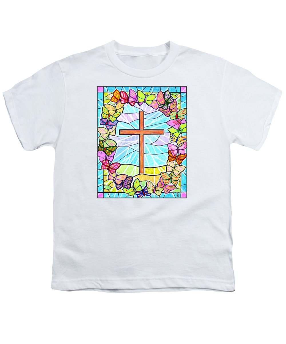 Easter Youth T-Shirt featuring the painting Butterflies And Cross by Jim Harris