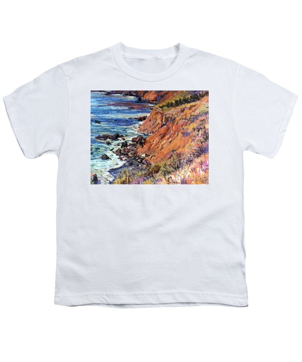 Big Sur Youth T-Shirt featuring the drawing California Coast by Donald Maier