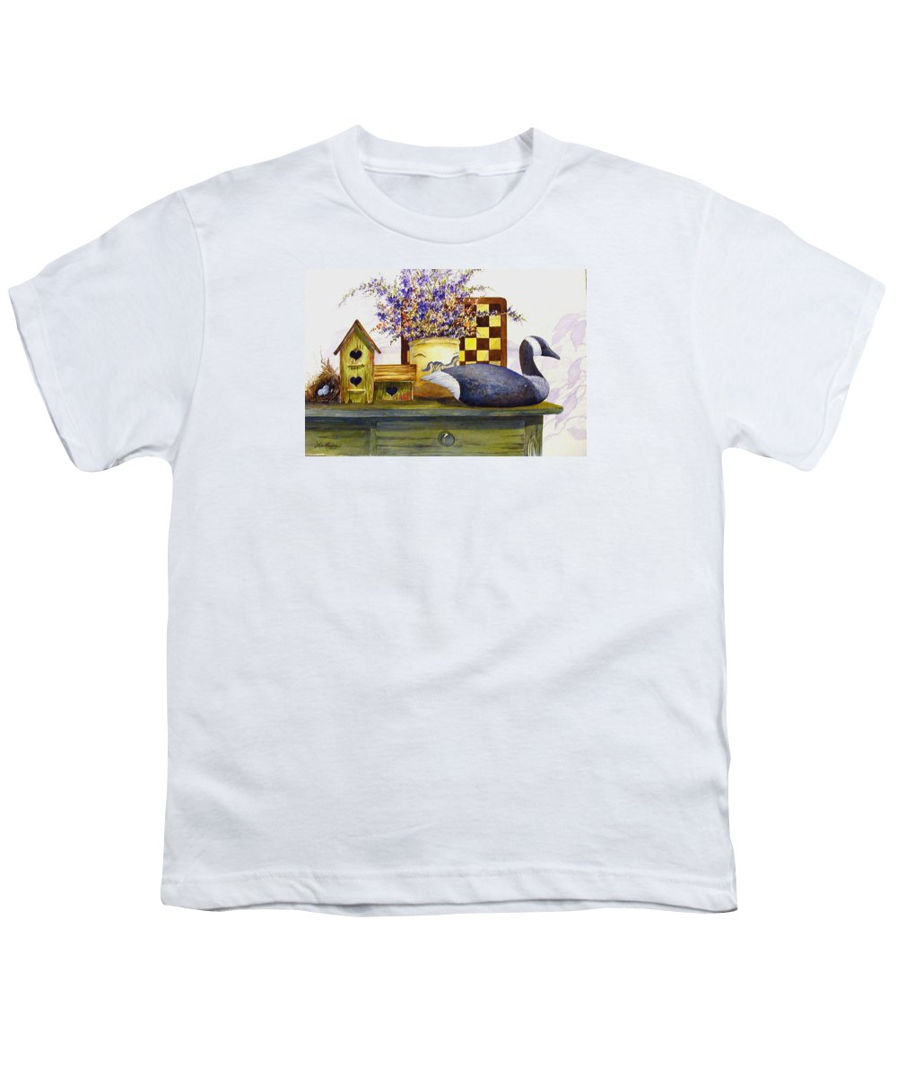 Canada Goose;birdhouse;bird Nest;crock;checkerboard;still Life;country Still Life; Youth T-Shirt featuring the painting Canada And Checkerboard by Lois Mountz