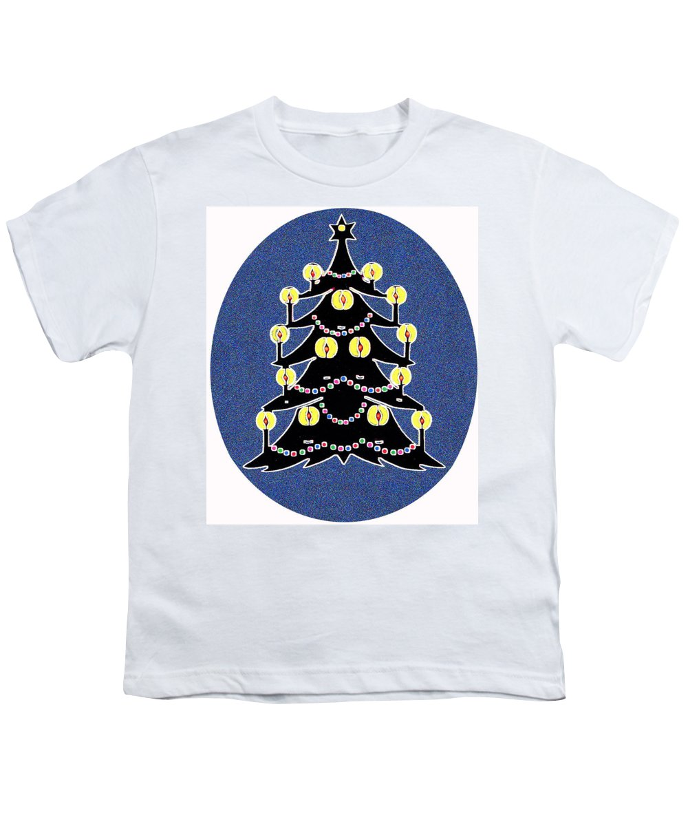 Christmas Youth T-Shirt featuring the digital art Candlelit Christmas Tree by Nancy Mueller