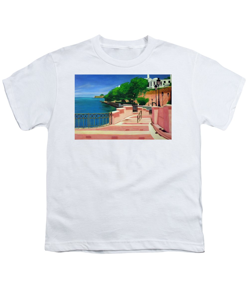 Landscape Youth T-Shirt featuring the painting Casa Blanca - Puerto Rico by Tito Santiago