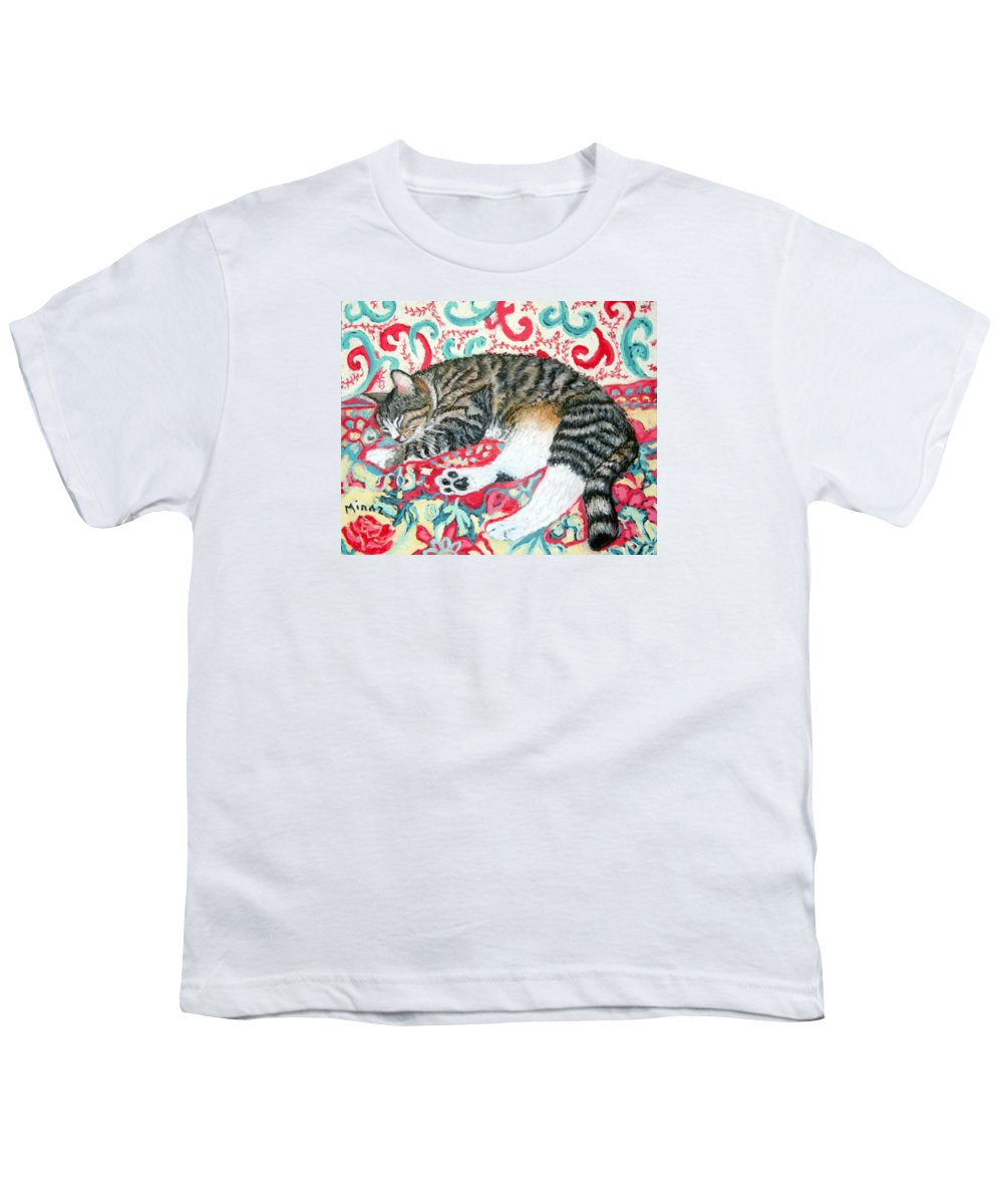 Cat Youth T-Shirt featuring the painting Catnap Time by Minaz Jantz