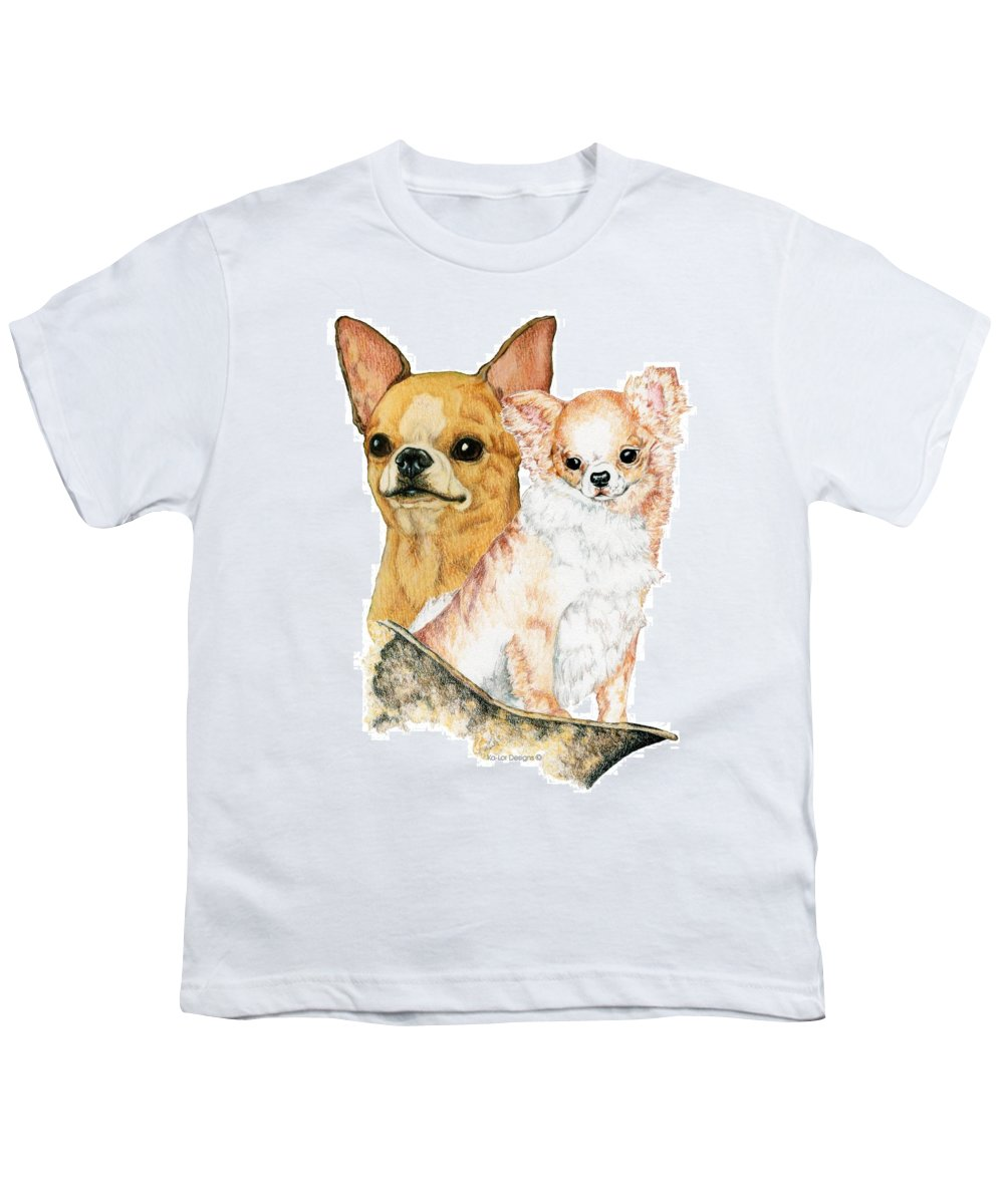 Chihuahua Youth T-Shirt featuring the drawing Chihuahuas by Kathleen Sepulveda