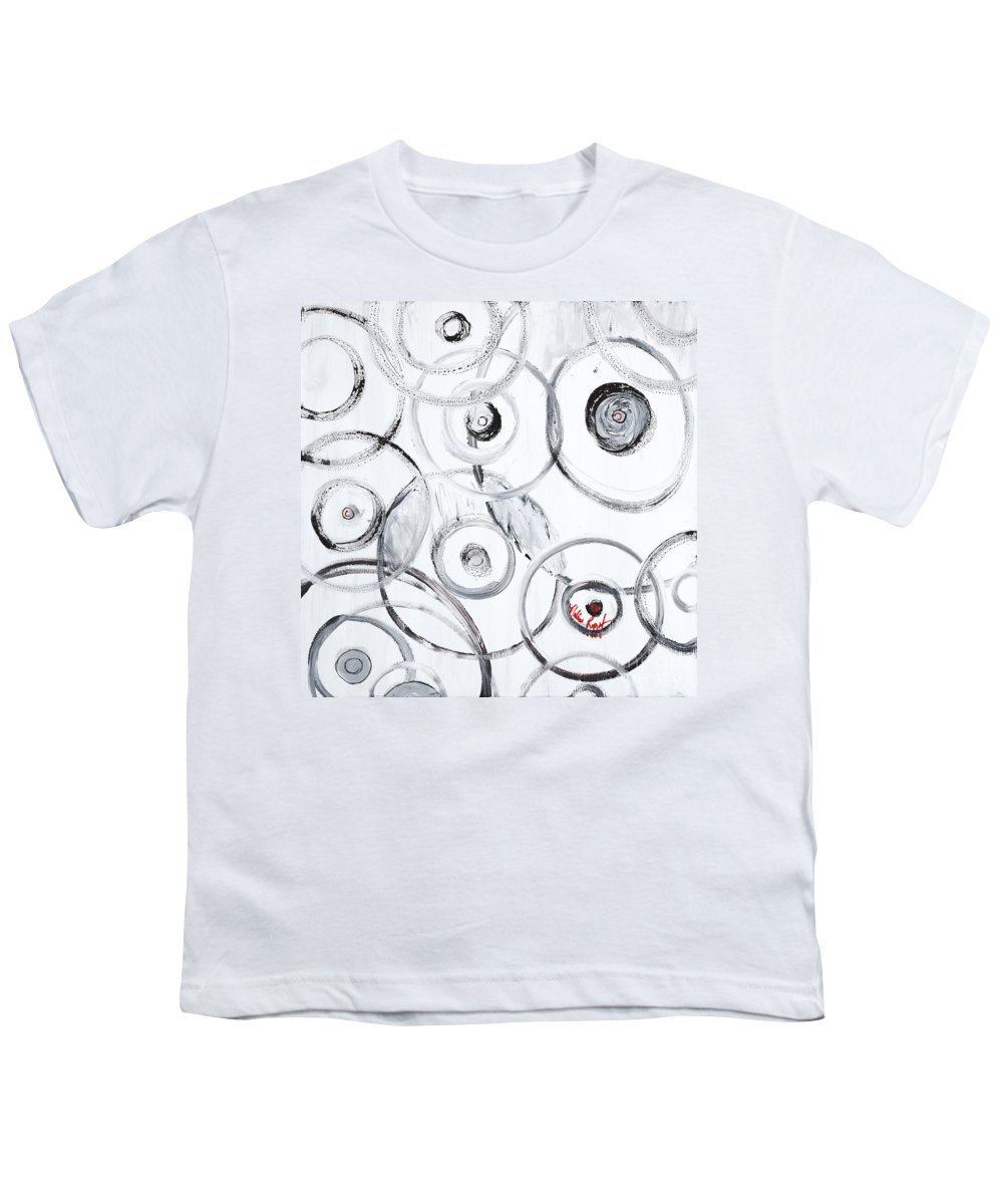 Circles Youth T-Shirt featuring the painting Choices In White by Nadine Rippelmeyer