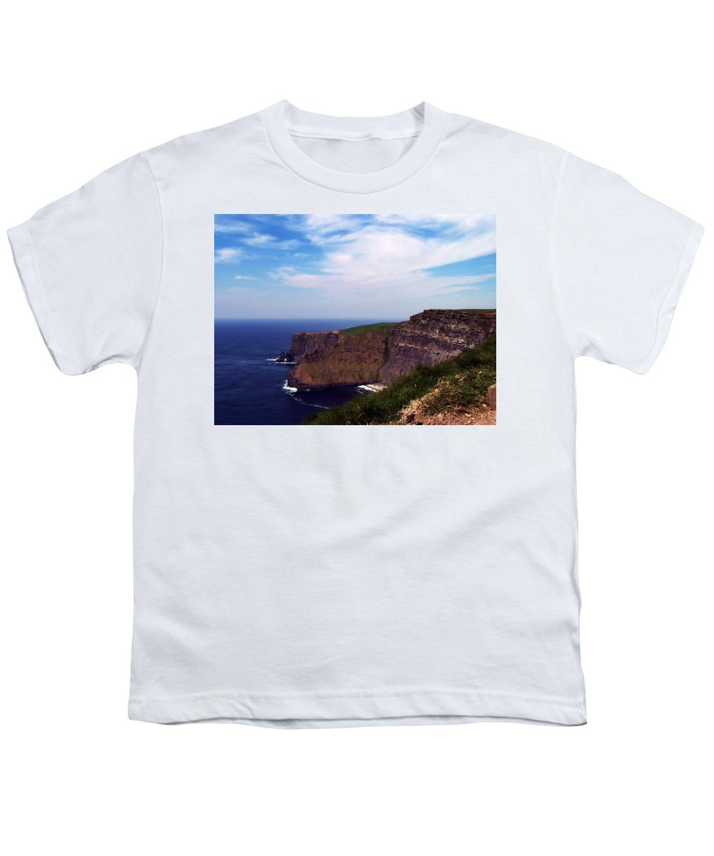 Irish Youth T-Shirt featuring the photograph Cliffs Of Moher Aill Na Searrach Ireland by Teresa Mucha