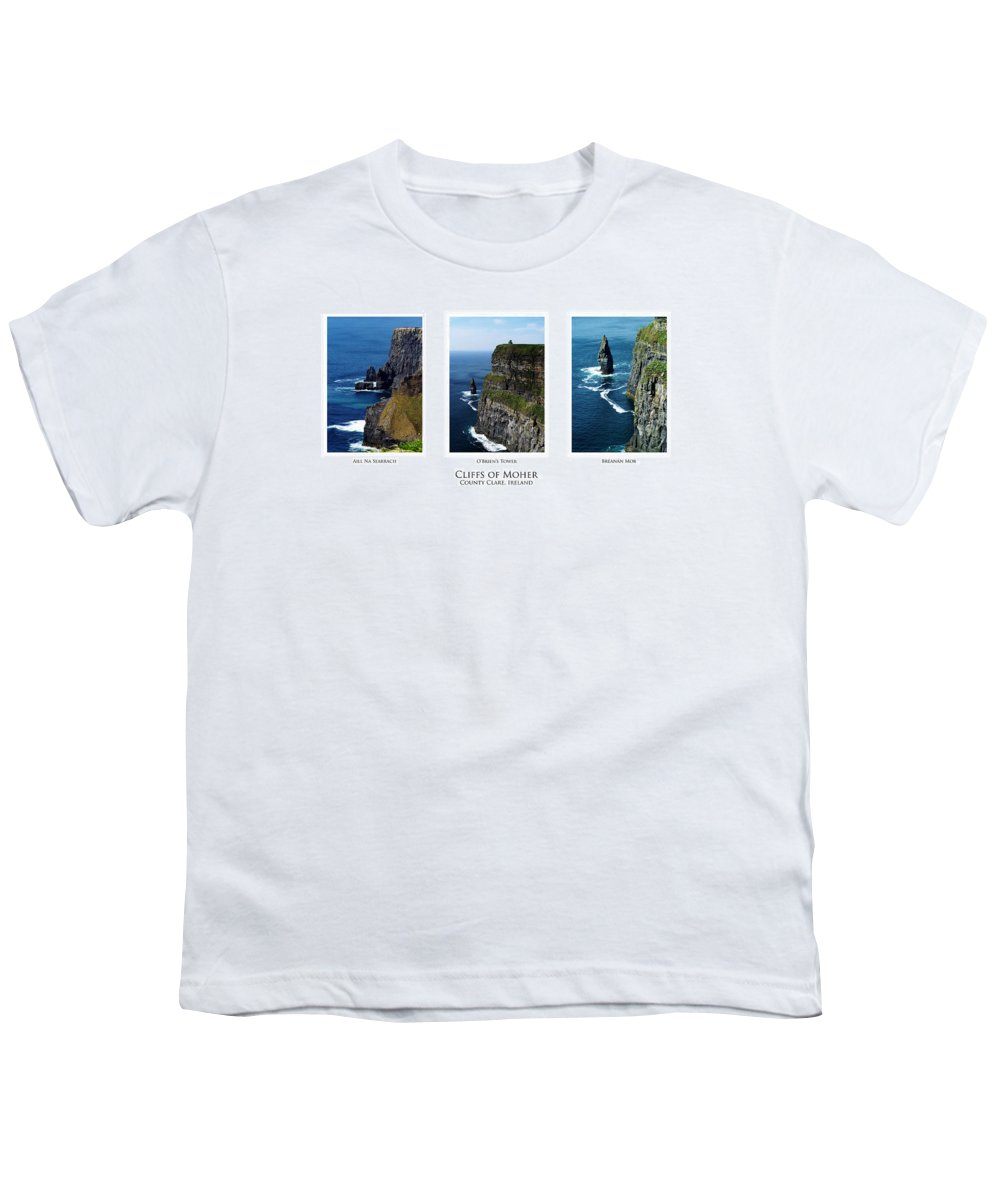 Irish Youth T-Shirt featuring the photograph Cliffs Of Moher Ireland Triptych by Teresa Mucha