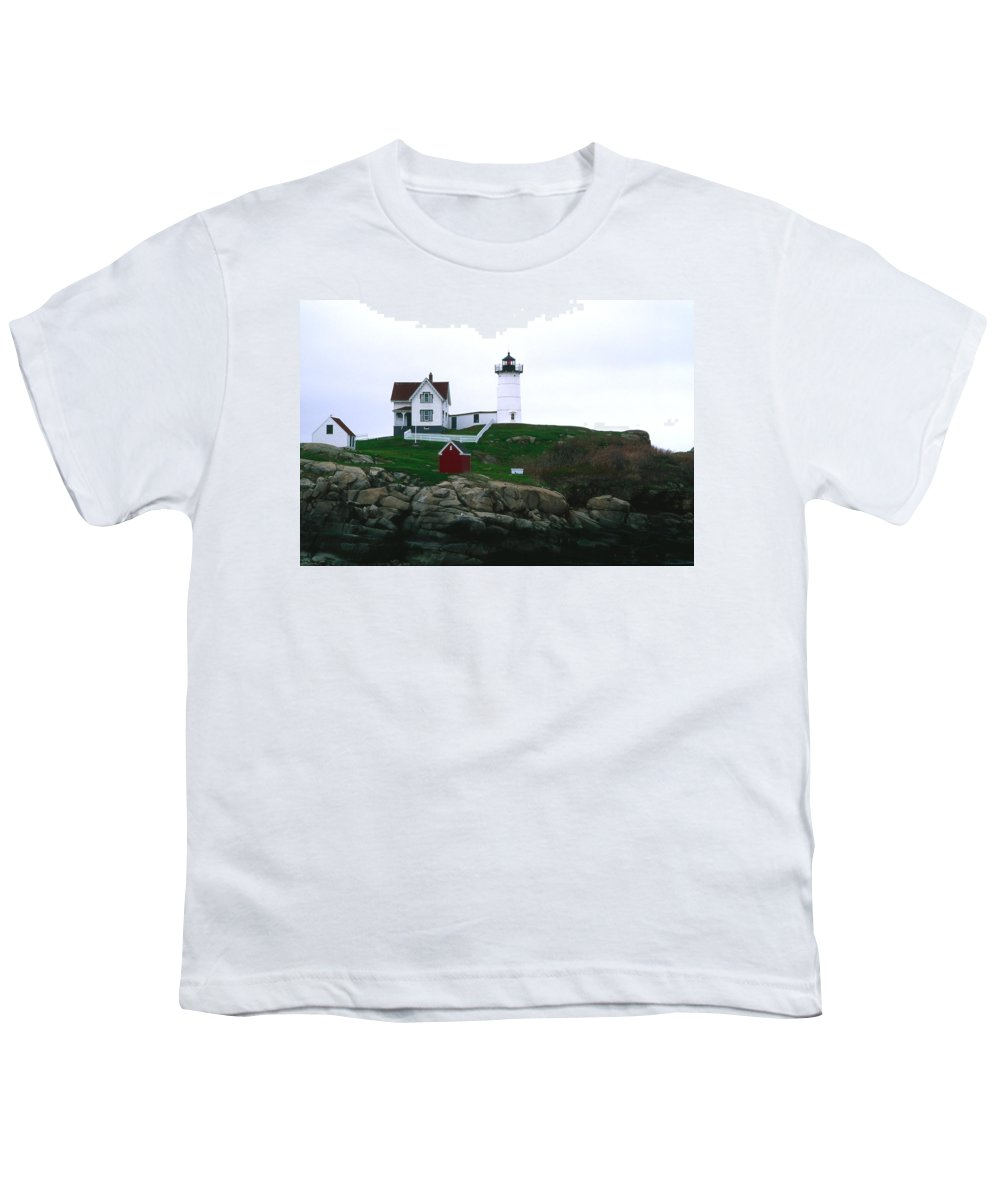 Landscape Lighthouse Nautical New England Nubble Light Cape Neddick Youth T-Shirt featuring the photograph Cnrf0502 by Henry Butz