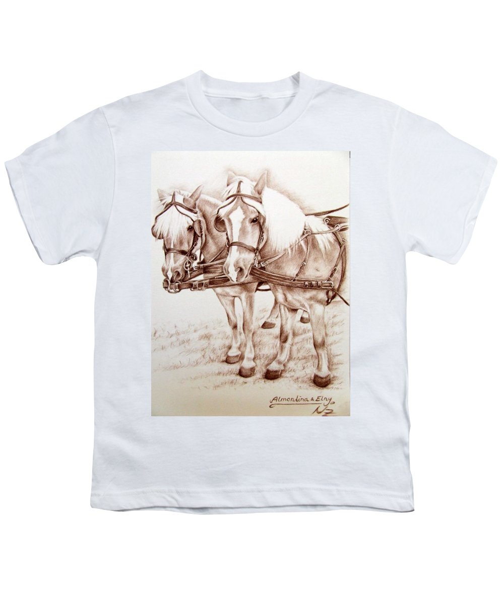 Horses Youth T-Shirt featuring the drawing Coach Horses by Nicole Zeug