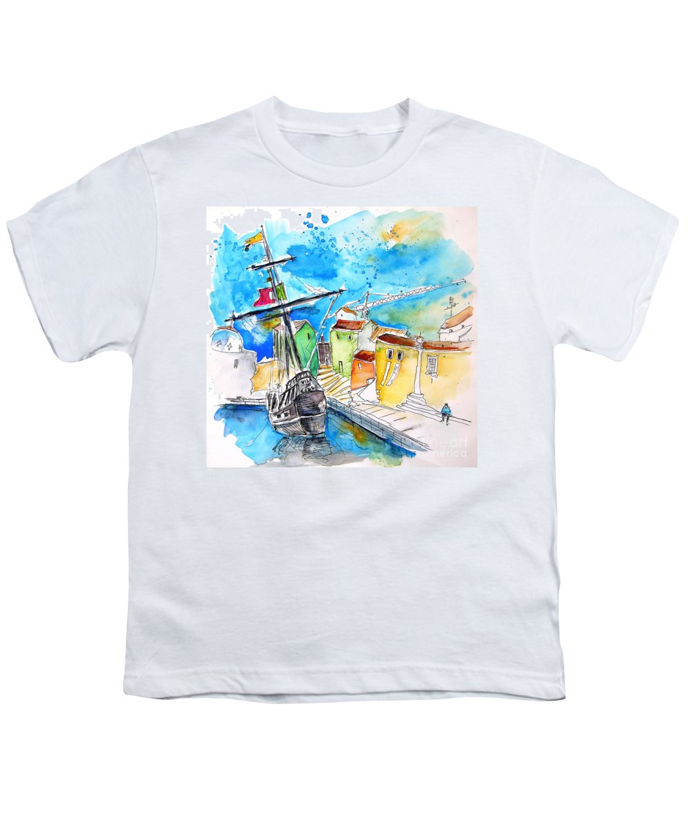 Portugal Youth T-Shirt featuring the painting Conquistador Boat In Portugal by Miki De Goodaboom