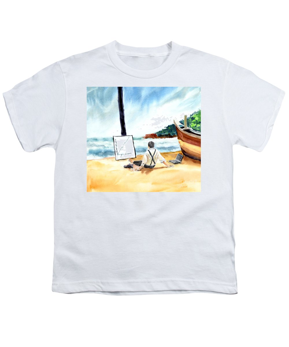 Landscape Youth T-Shirt featuring the painting Contemplation by Anil Nene