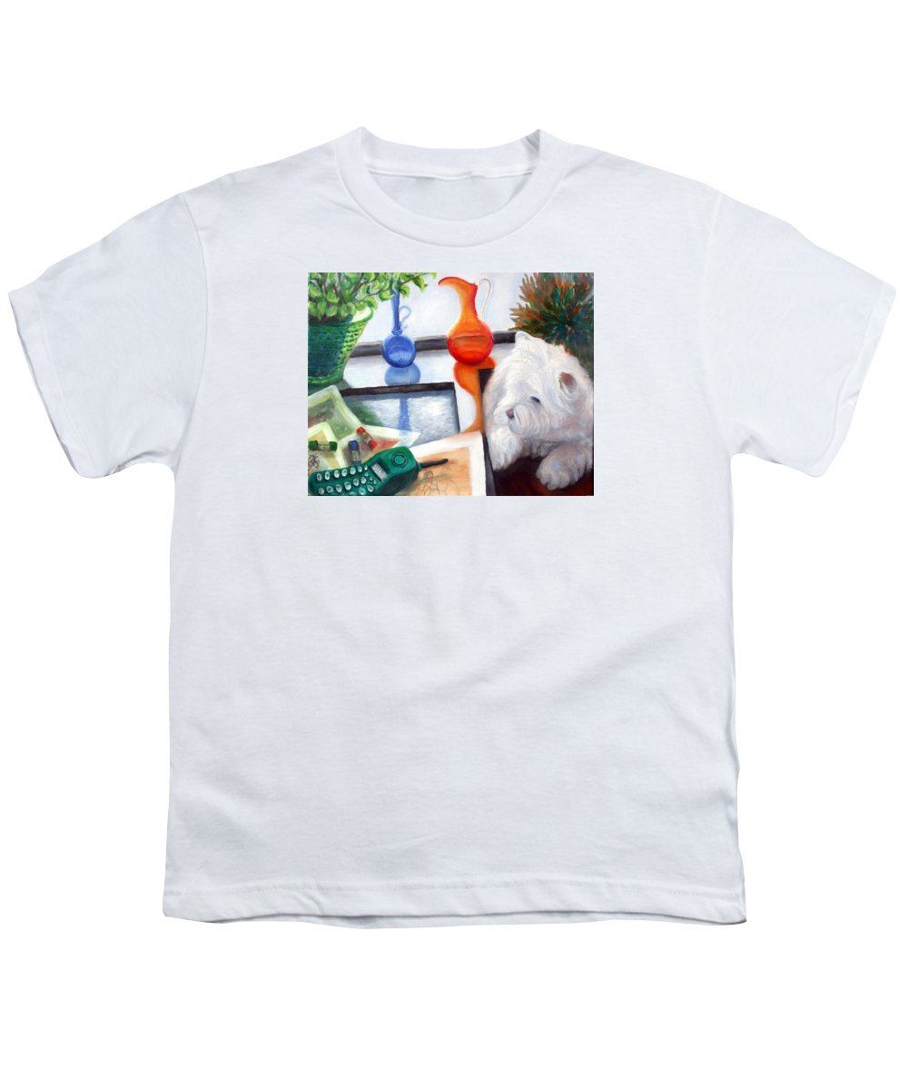 Dog Youth T-Shirt featuring the painting Creative Reflections by Minaz Jantz
