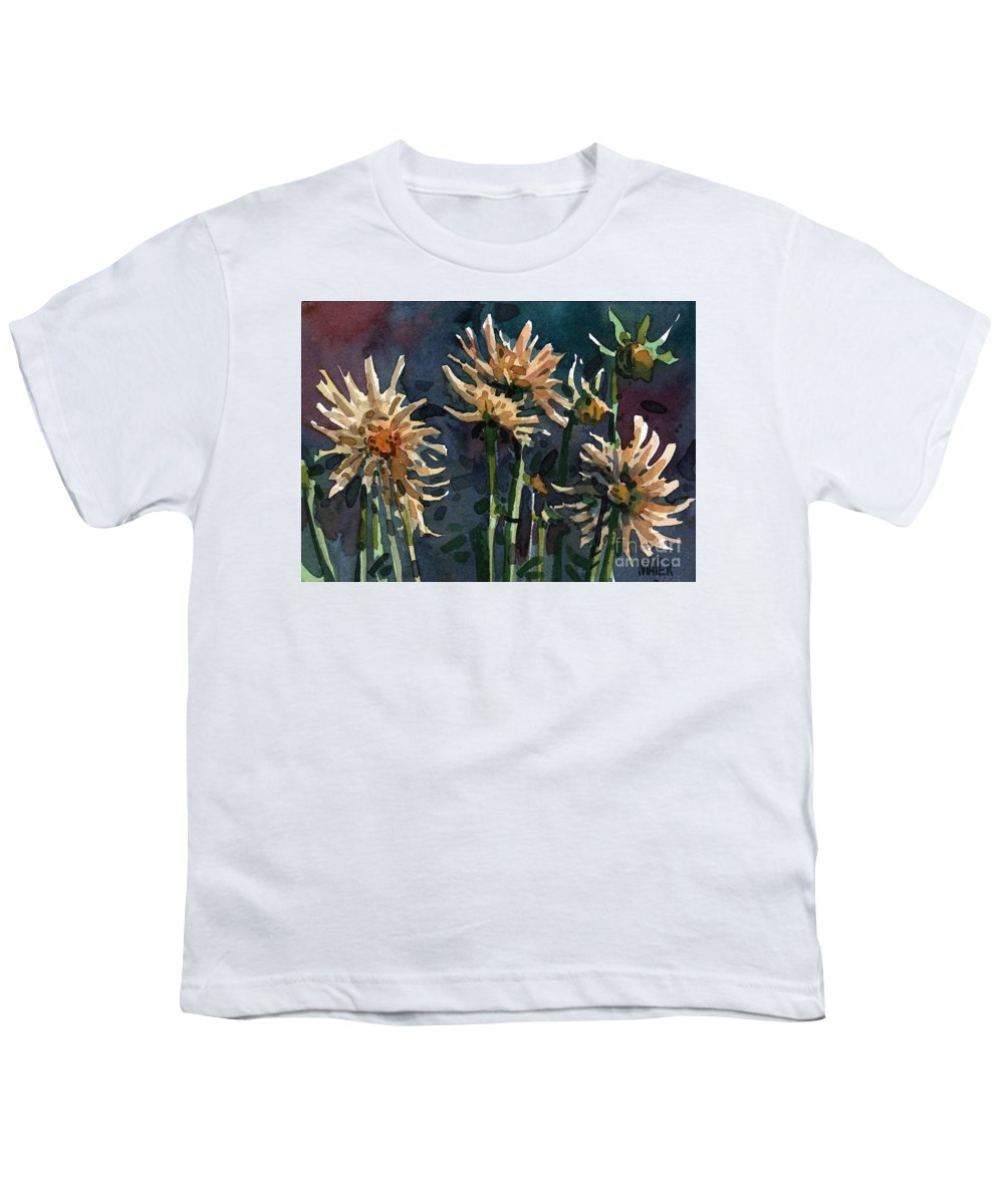 Floral Youth T-Shirt featuring the painting Dahlias by Donald Maier