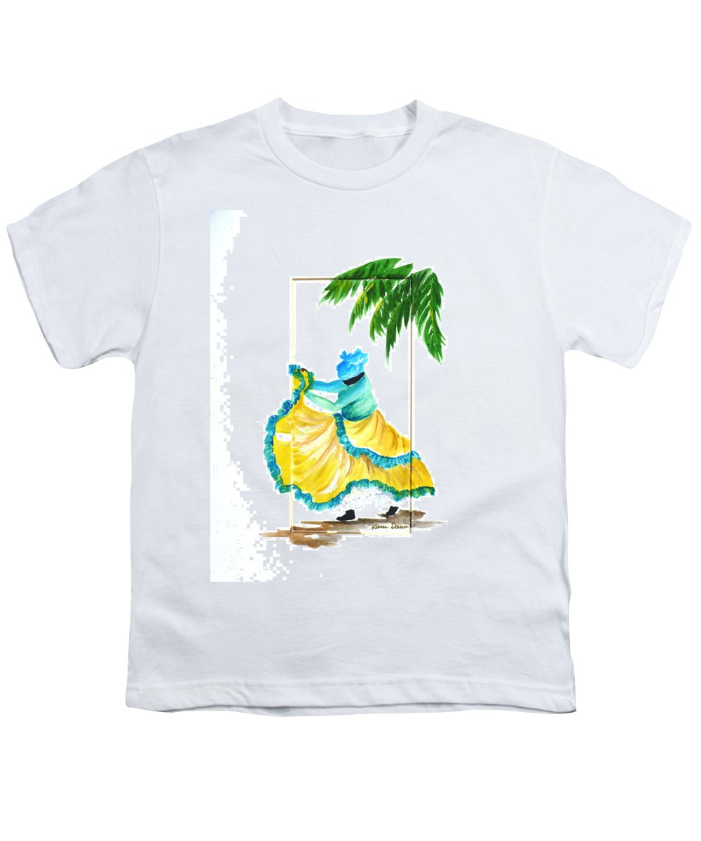 Dance Folk Caribbean Tropical Youth T-Shirt featuring the painting Dance De Belaire by Karin Dawn Kelshall- Best