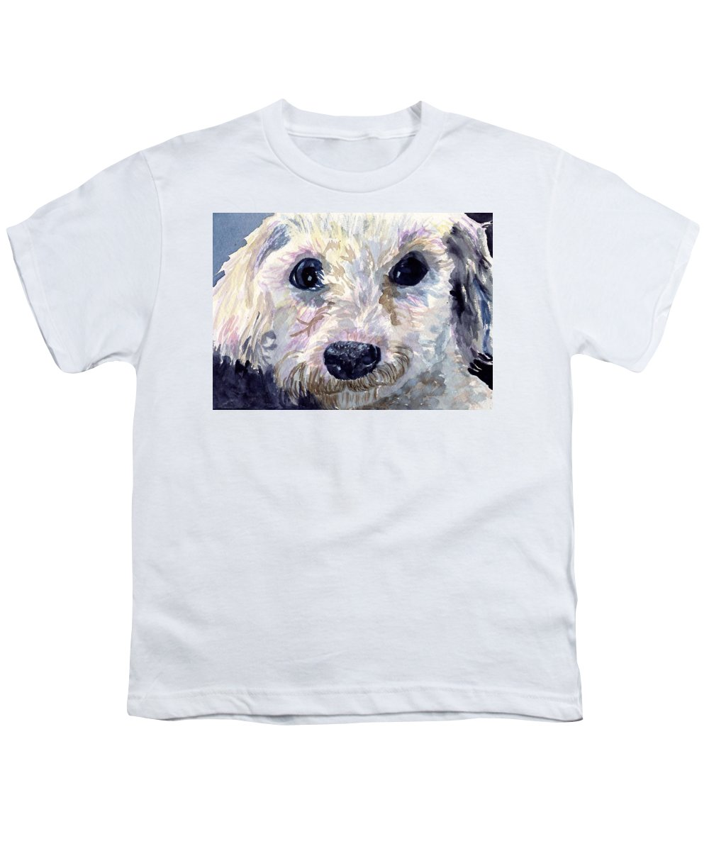Bichon Frise Youth T-Shirt featuring the painting Did You Say Lunch by Sharon E Allen