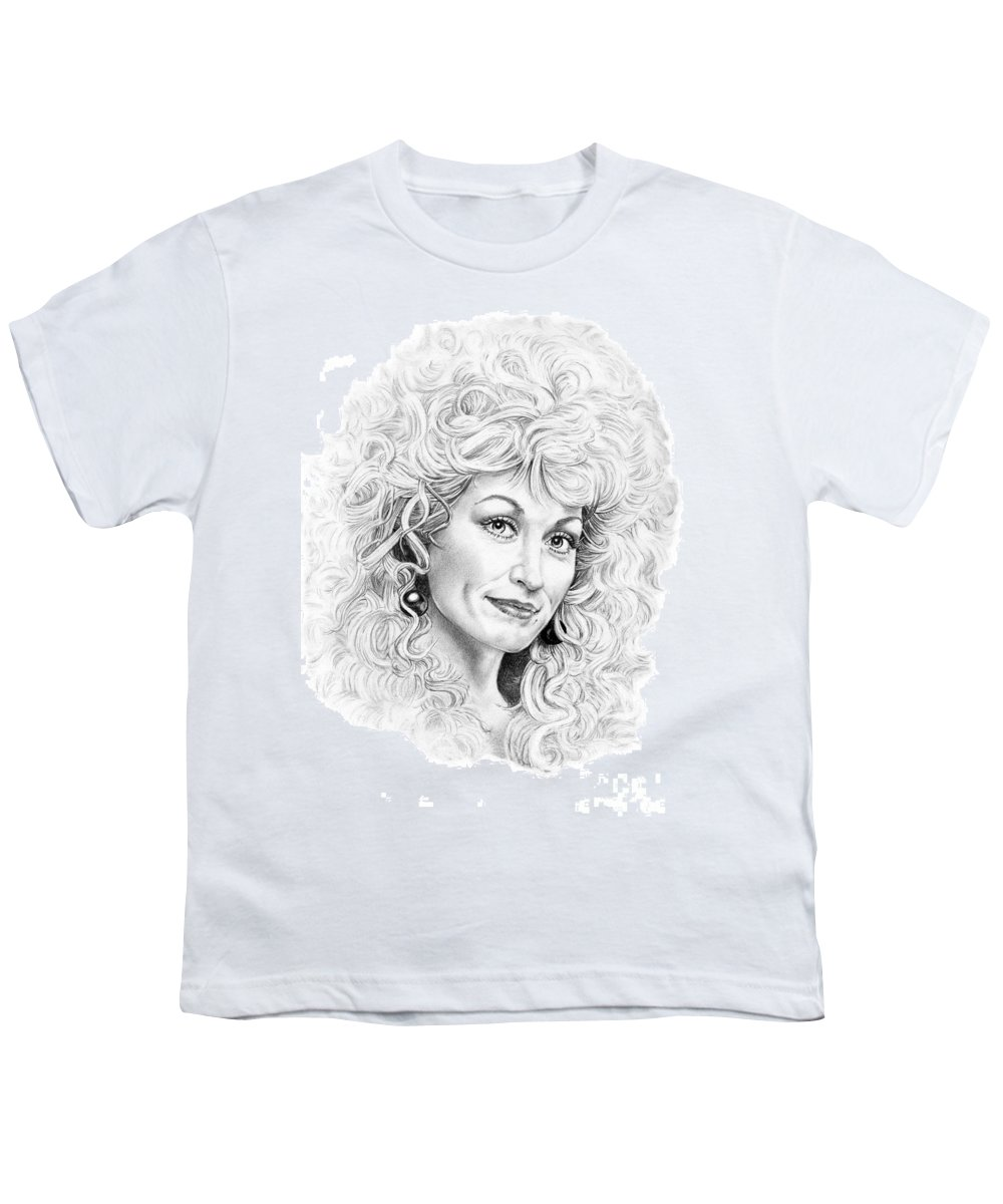 Portrait Youth T-Shirt featuring the drawing Dolly Parton by Murphy Elliott