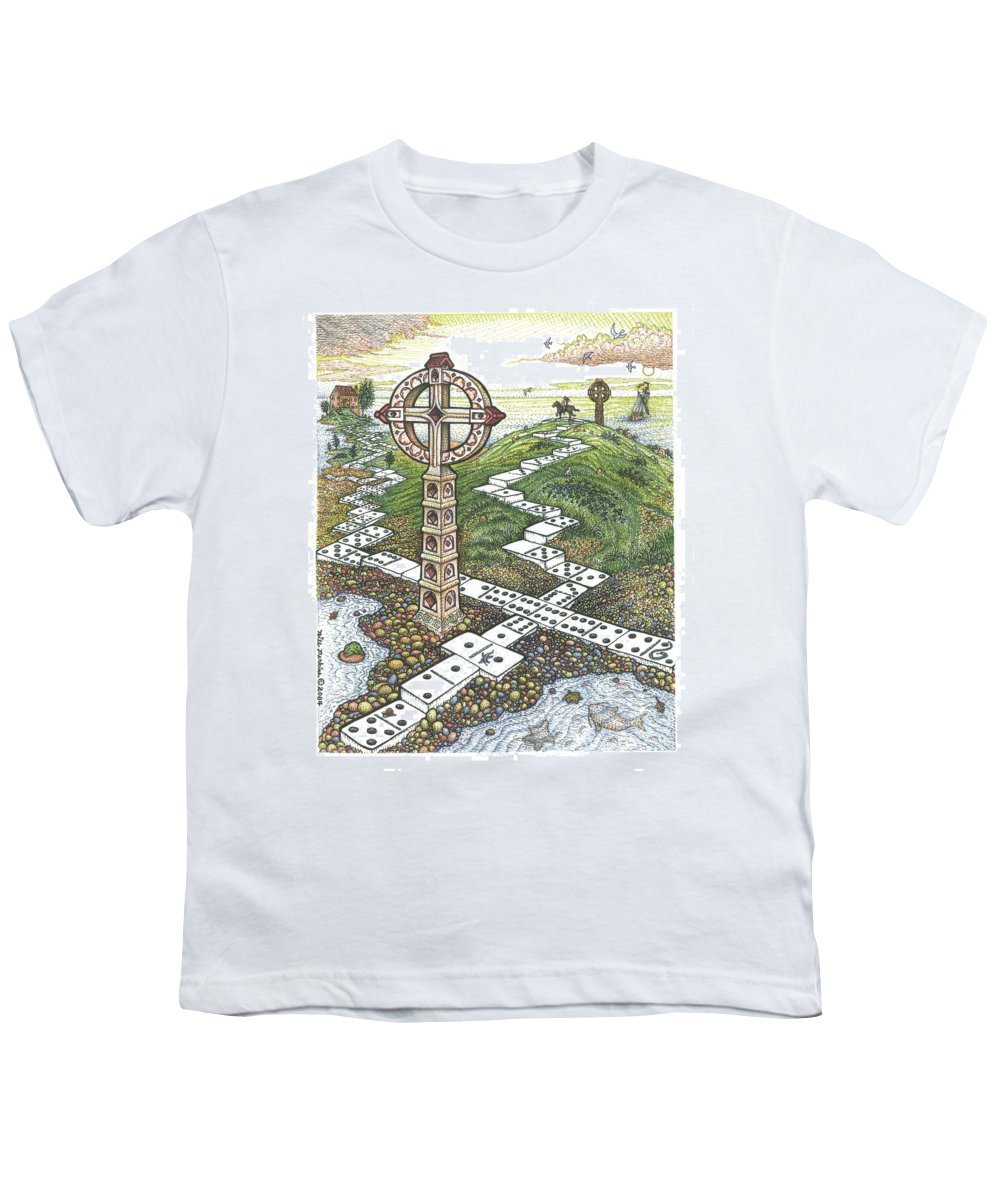 Landscape Youth T-Shirt featuring the drawing Domino Crosses by Bill Perkins