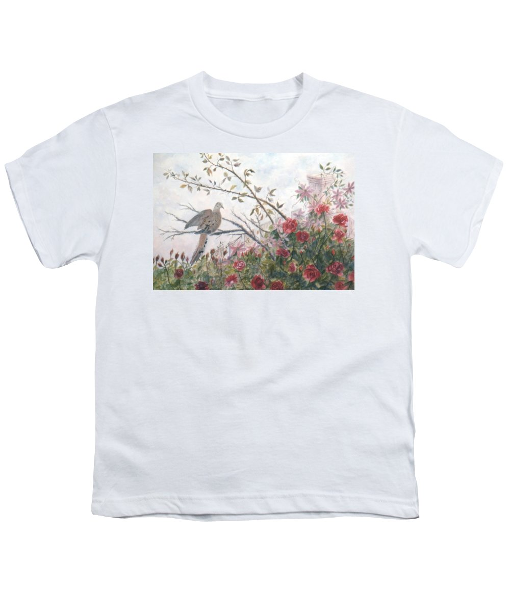 Dove; Roses Youth T-Shirt featuring the painting Dove And Roses by Ben Kiger