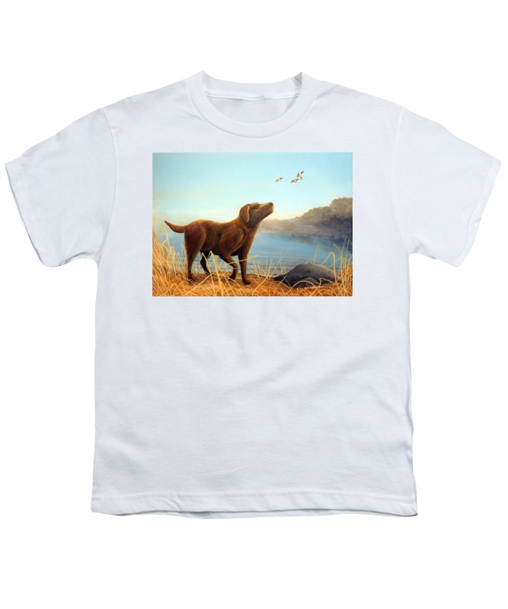 Chocolate Lab Painting Youth T-Shirt featuring the Dutch by Rick Huotari