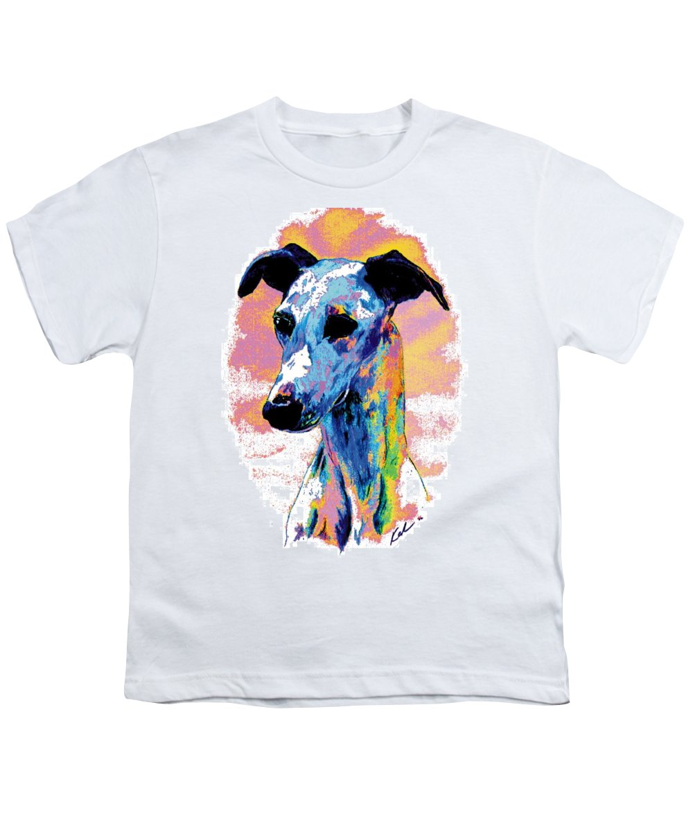 Electric Whippet Youth T-Shirt featuring the digital art Electric Whippet by Kathleen Sepulveda