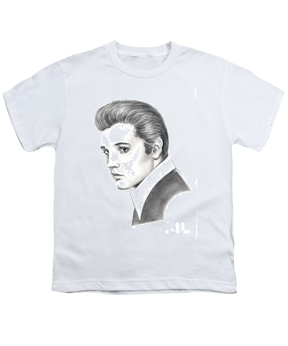 Pencil. Portrait Youth T-Shirt featuring the drawing Elvis Presley by Murphy Elliott
