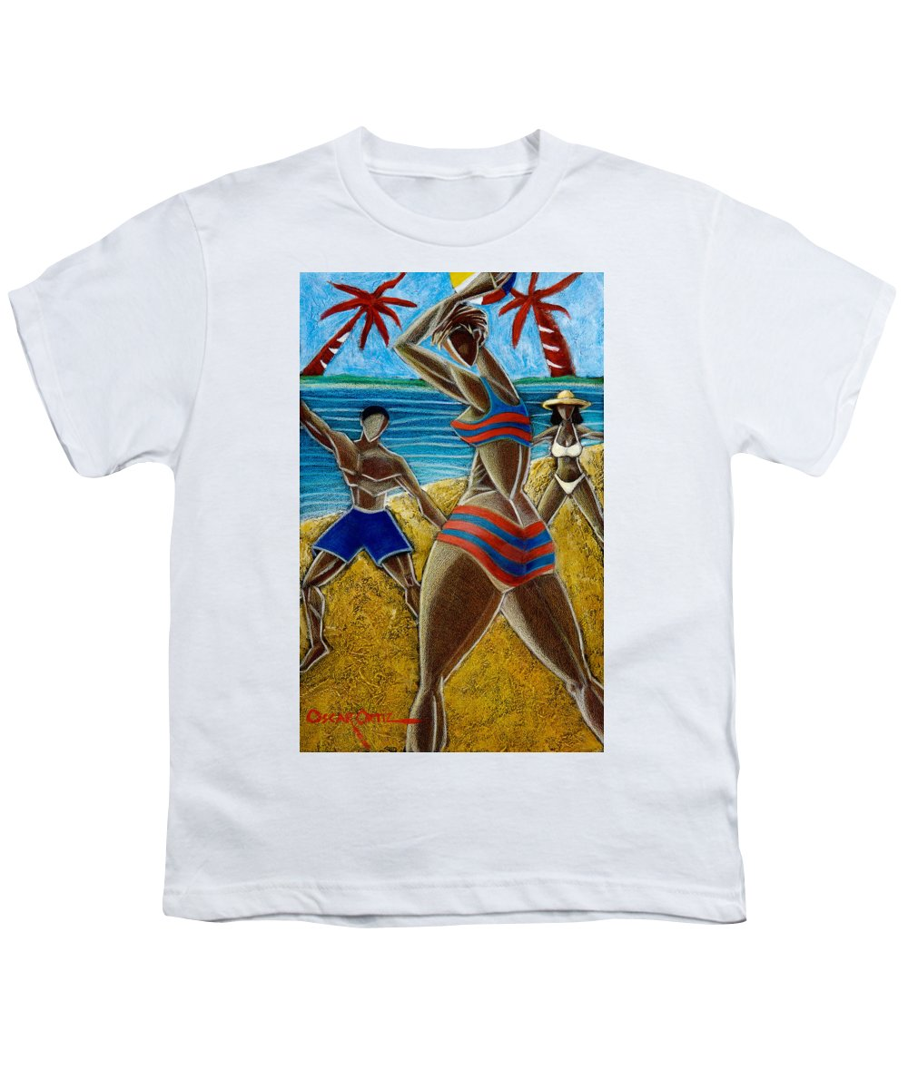 Beach Youth T-Shirt featuring the painting En Luquillo Se Goza by Oscar Ortiz