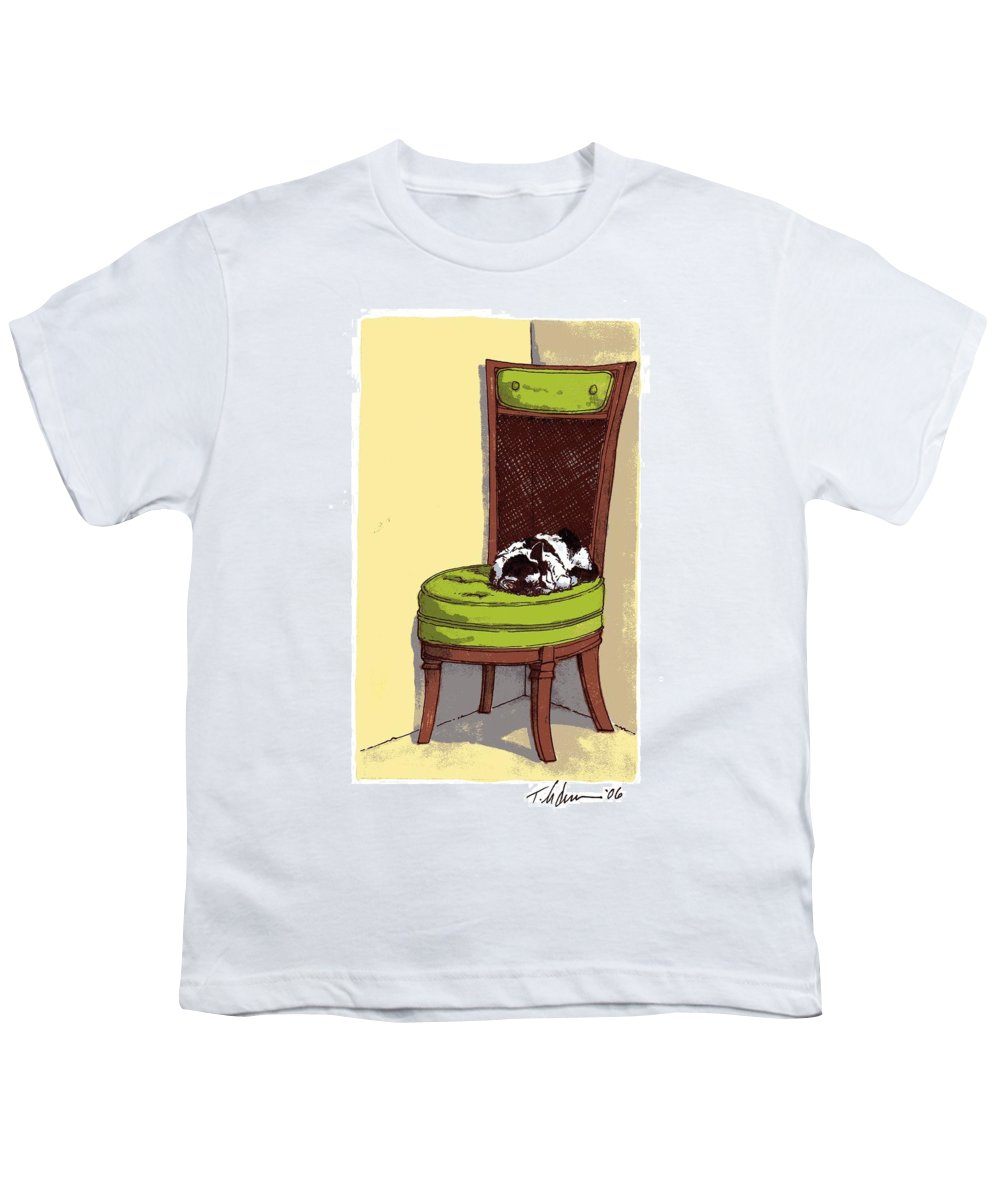 Cat Youth T-Shirt featuring the drawing Ernie And Green Chair by Tobey Anderson