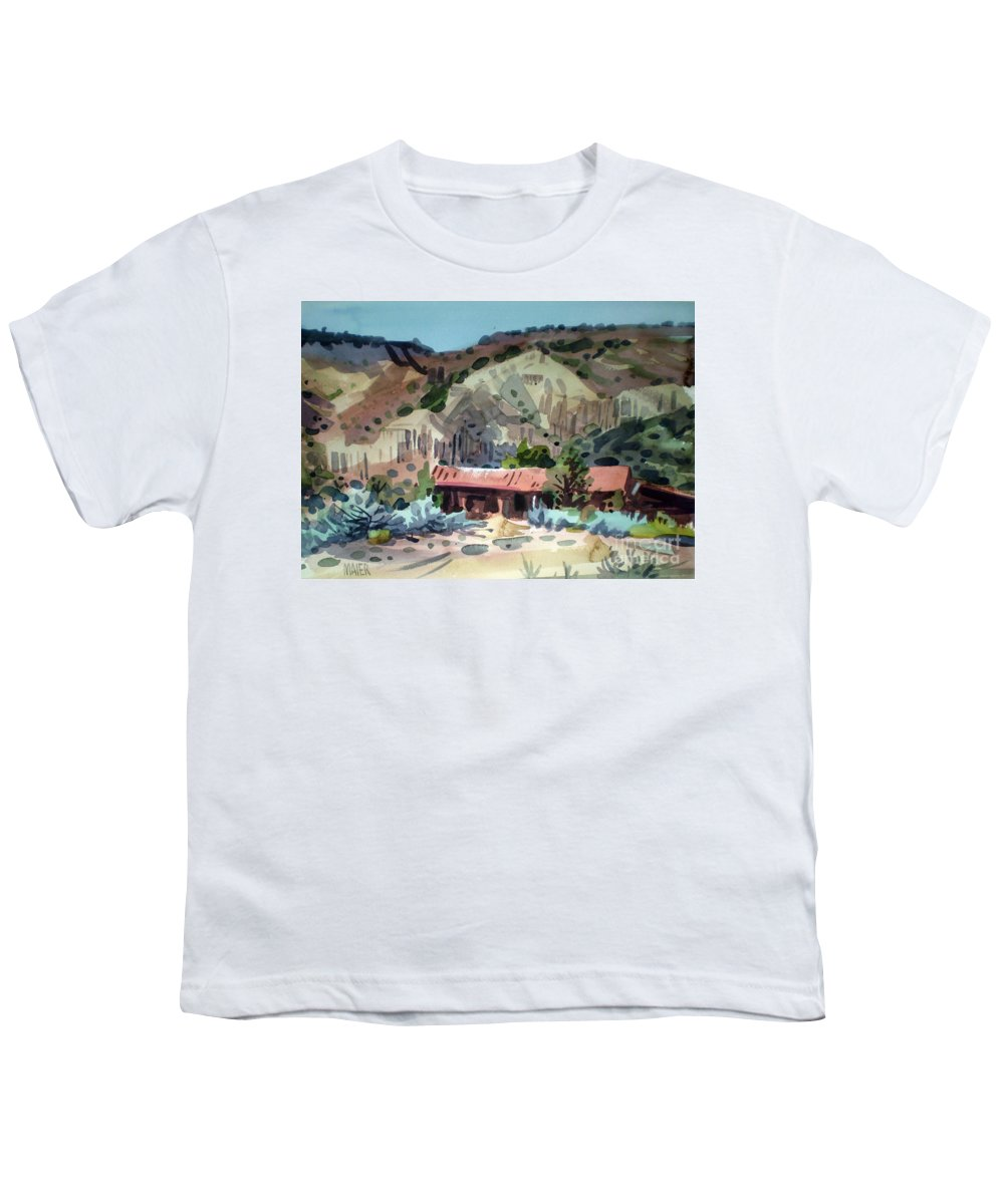 New Mexico Youth T-Shirt featuring the painting Espanola On The Rio Grande by Donald Maier