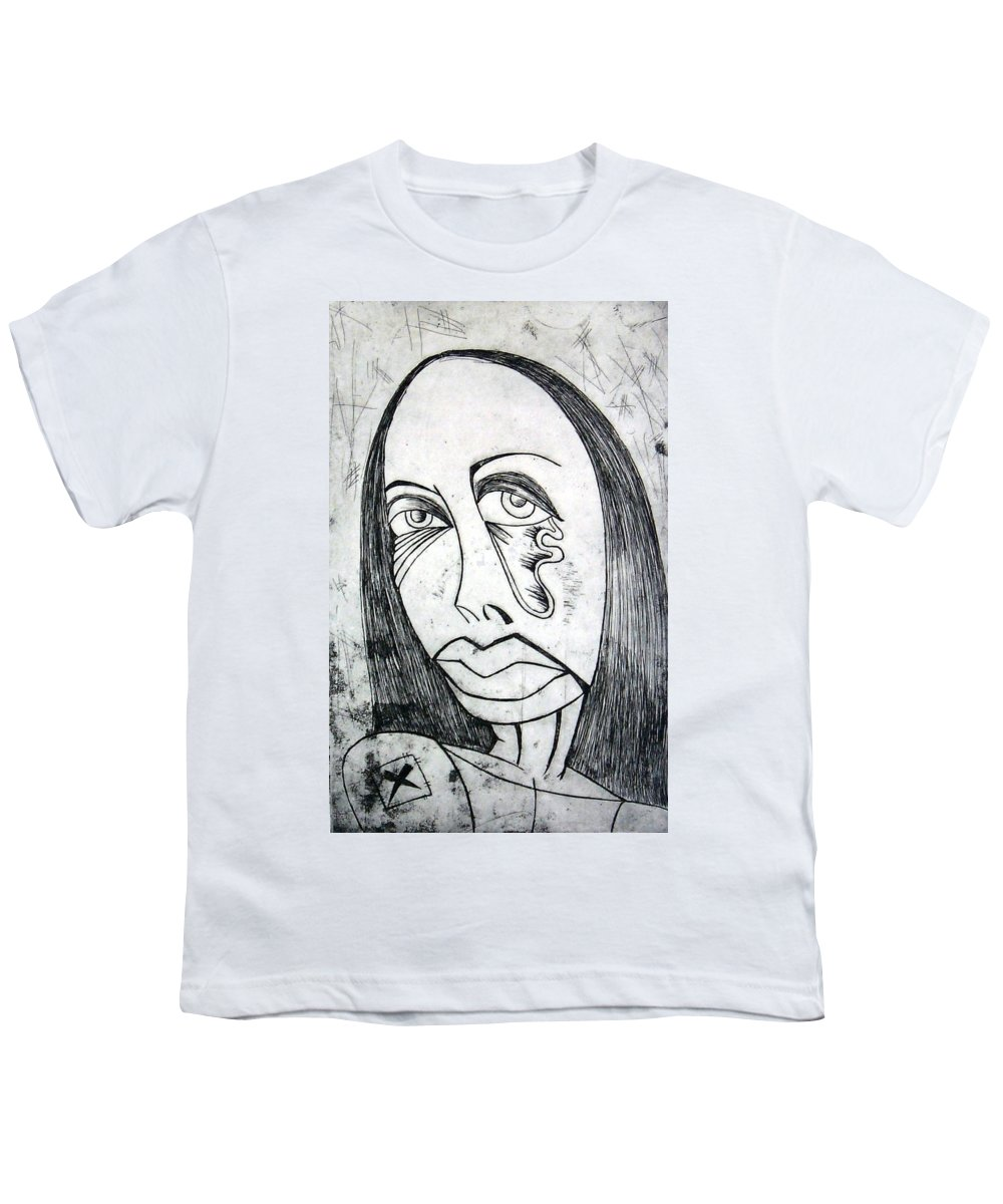 Girl Youth T-Shirt featuring the print Etching by Thomas Valentine
