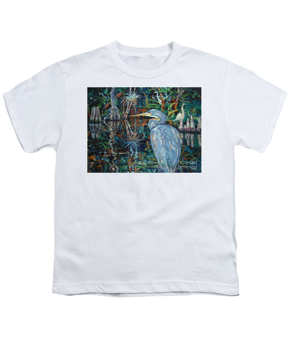 Blue Herron Youth T-Shirt featuring the painting Everglades by Donald Maier