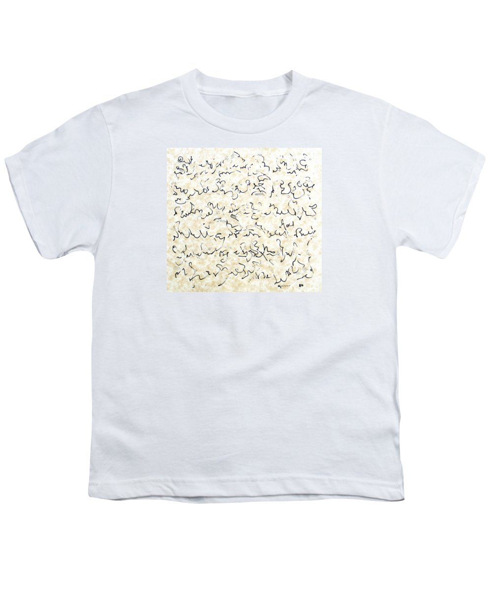 Calligraphy Youth T-Shirt featuring the drawing Executive Summary With Notes by Dave Martsolf