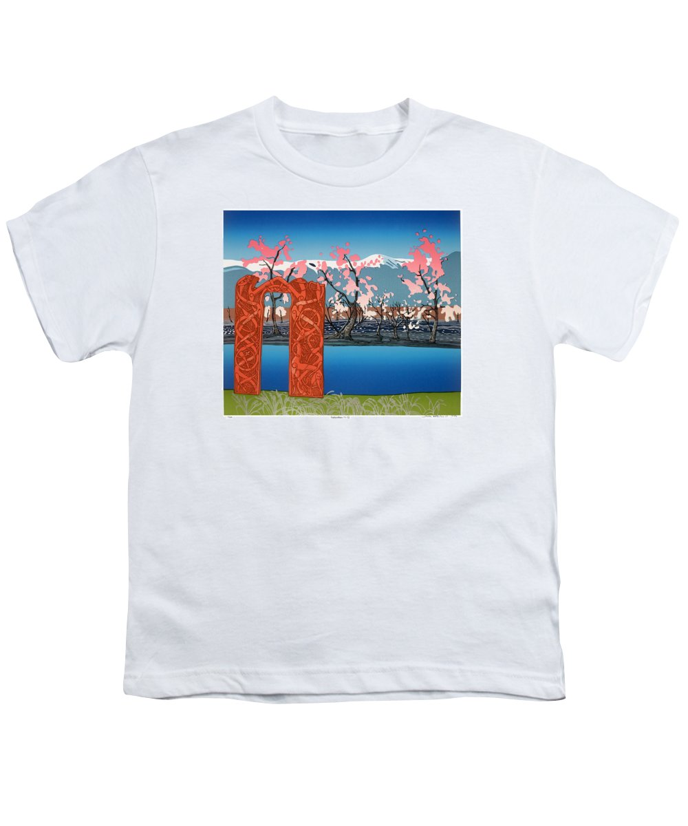Landscape Youth T-Shirt featuring the mixed media Exploration. by Jarle Rosseland