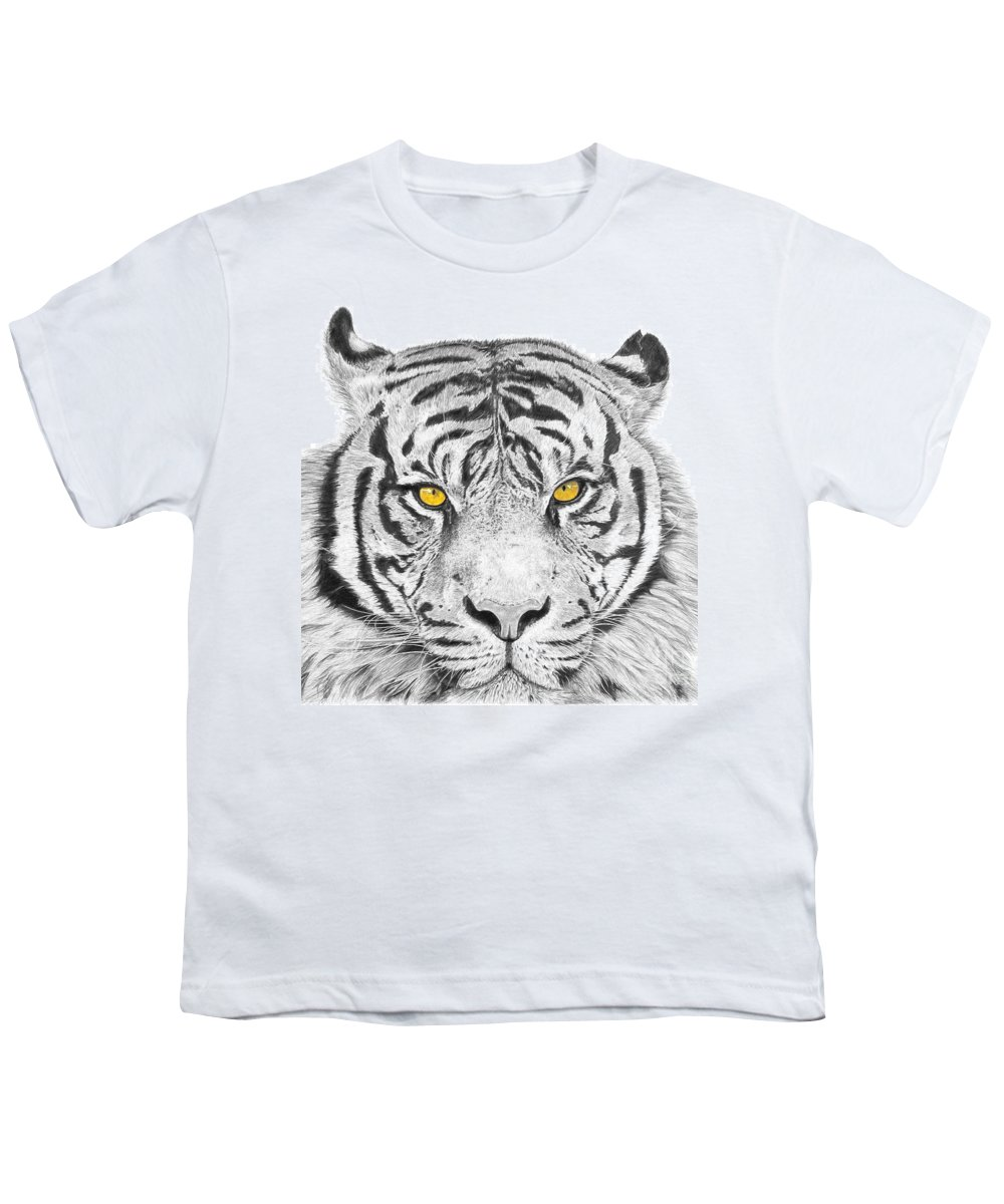 Tiger Youth T-Shirt featuring the drawing Eyes Of The Tiger by Shawn Stallings