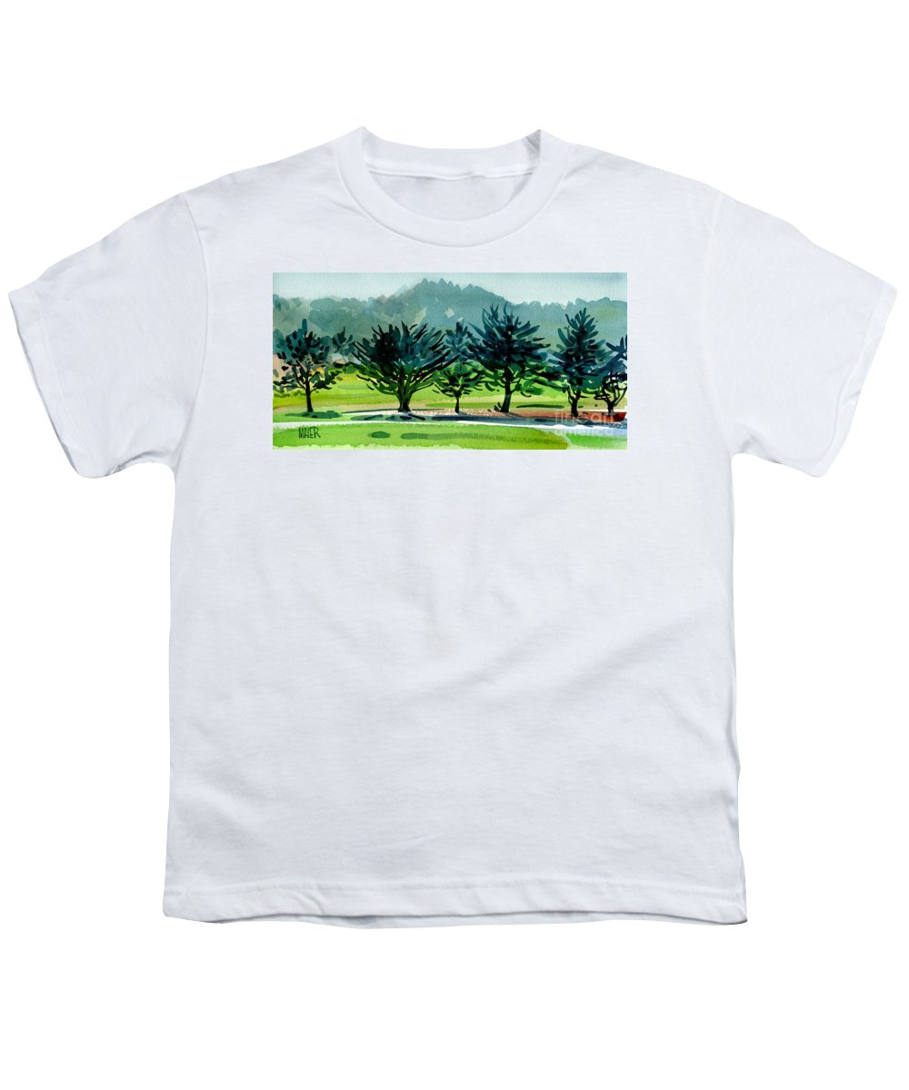Crystal Springs Youth T-Shirt featuring the painting Fairway Junipers by Donald Maier