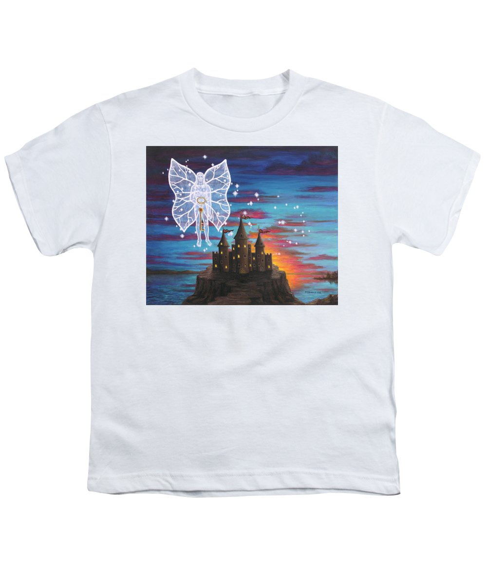 Fantasy Youth T-Shirt featuring the painting Fairy Takes The Key by Roz Eve