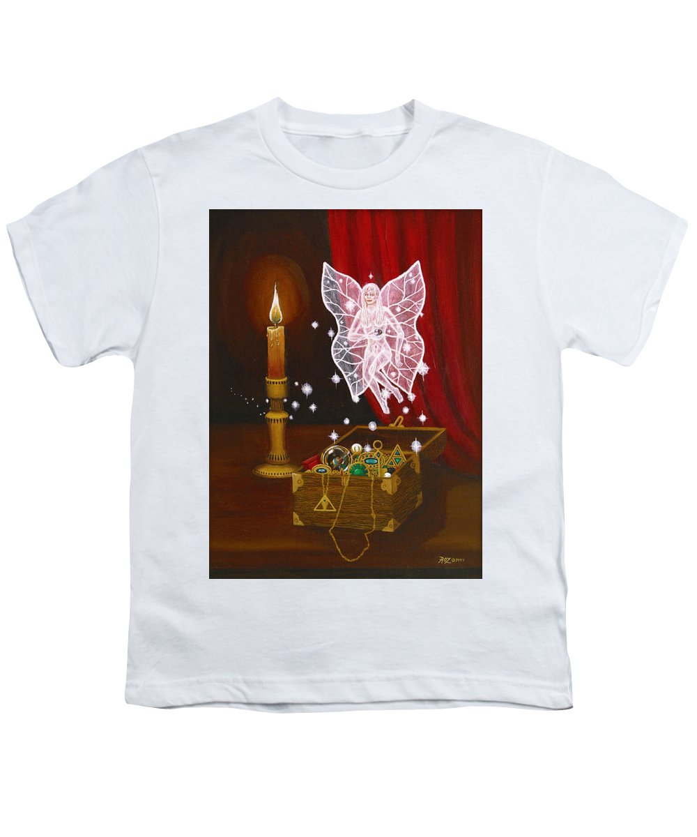 Fairy Youth T-Shirt featuring the painting Fairy Treasure by Roz Eve
