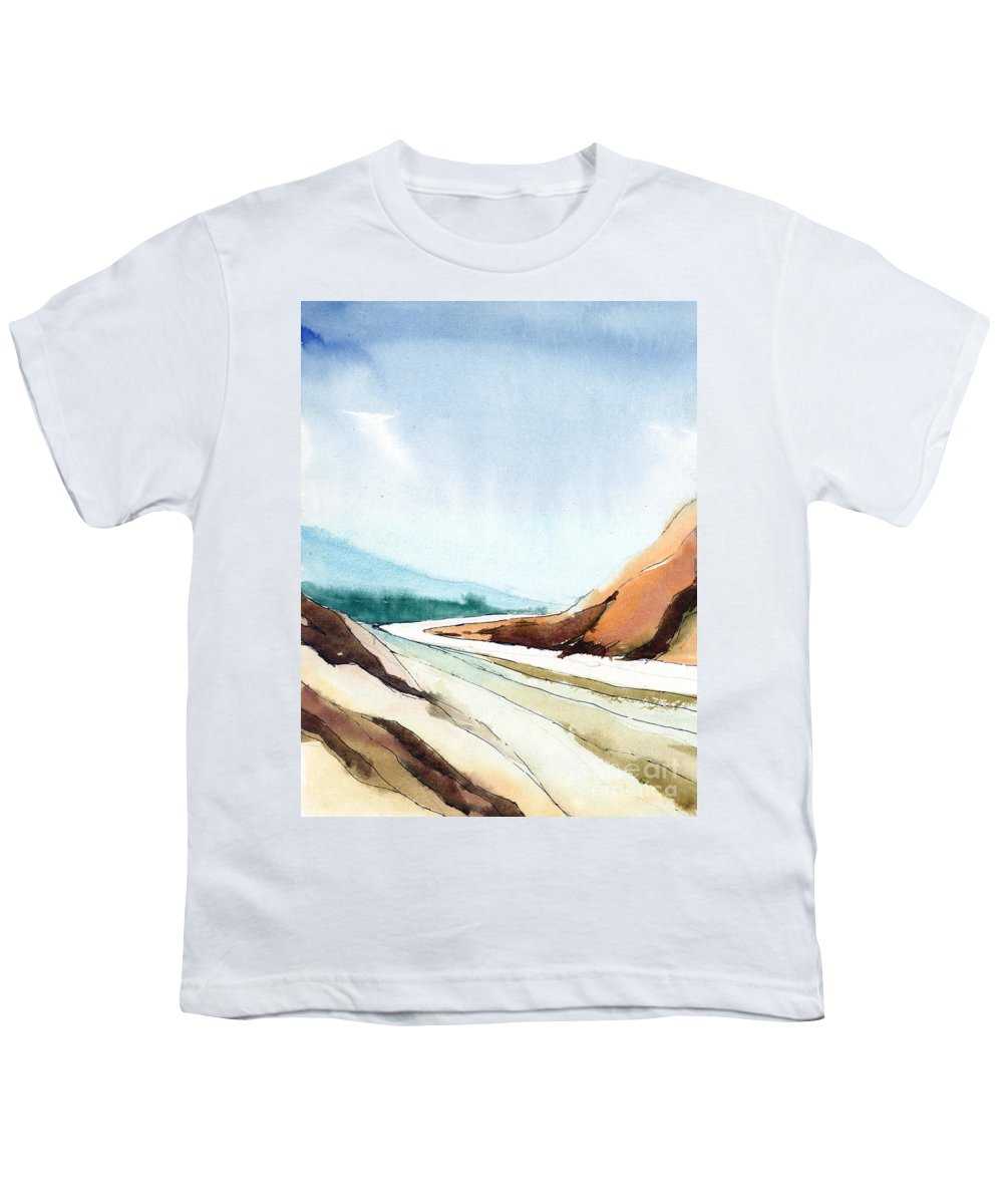 Landscape Youth T-Shirt featuring the painting Far Away by Anil Nene