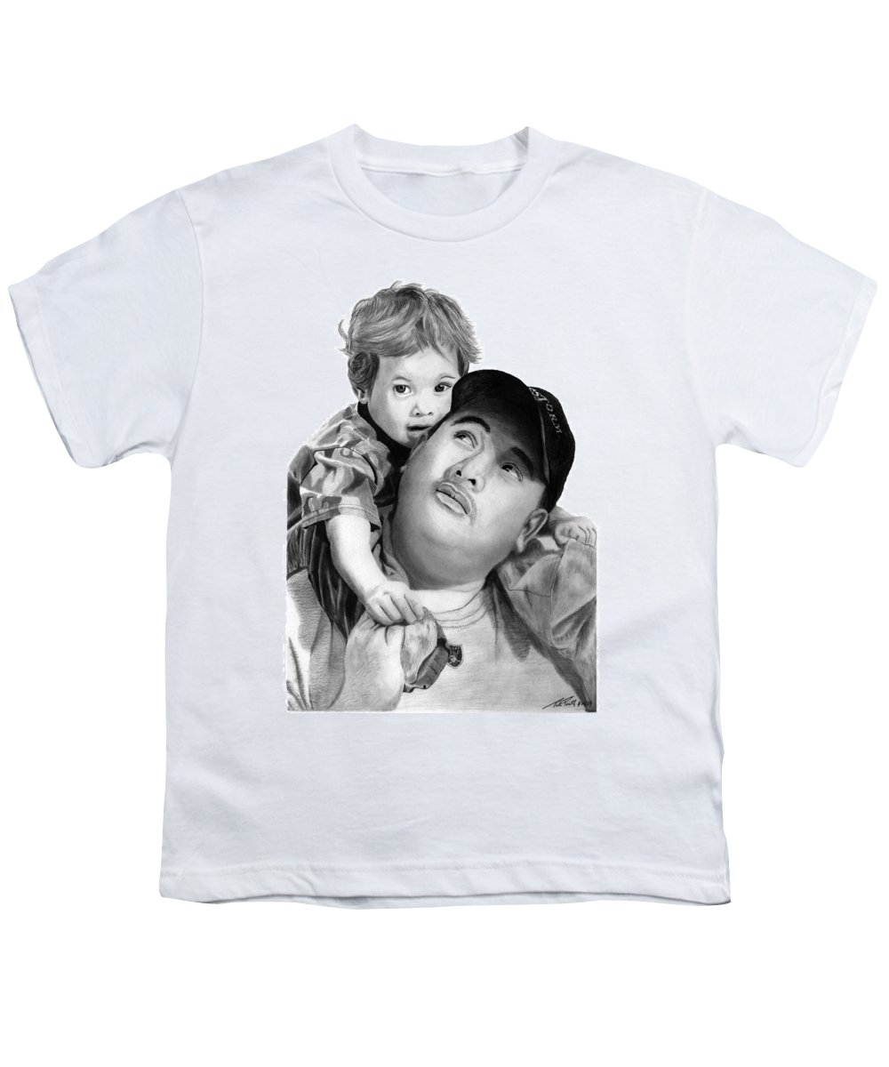 Father And Son Youth T-Shirt featuring the drawing Father And Son by Peter Piatt