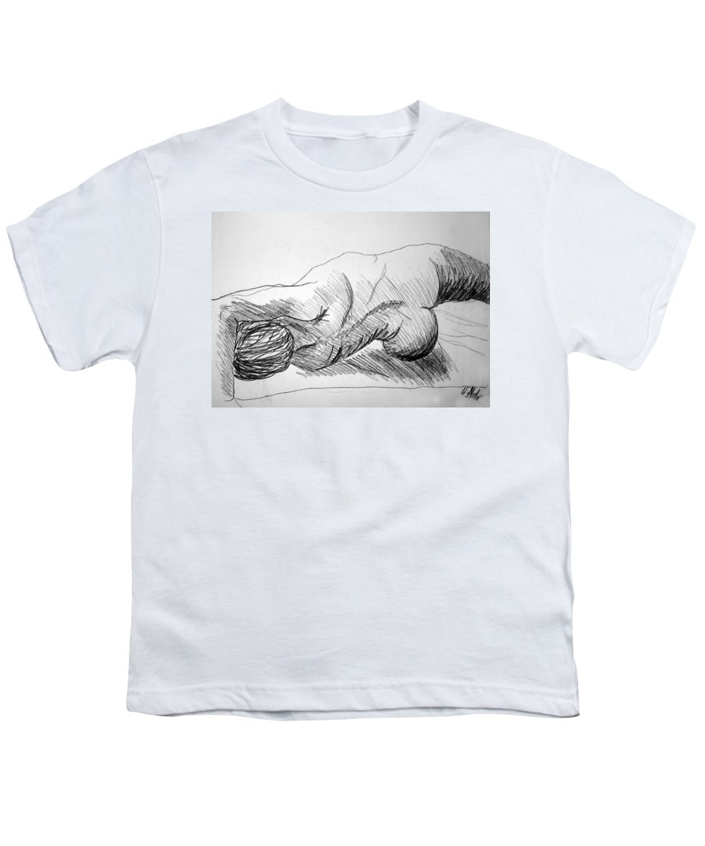 Figure Youth T-Shirt featuring the drawing Figure Drawing 2 by Nancy Mueller