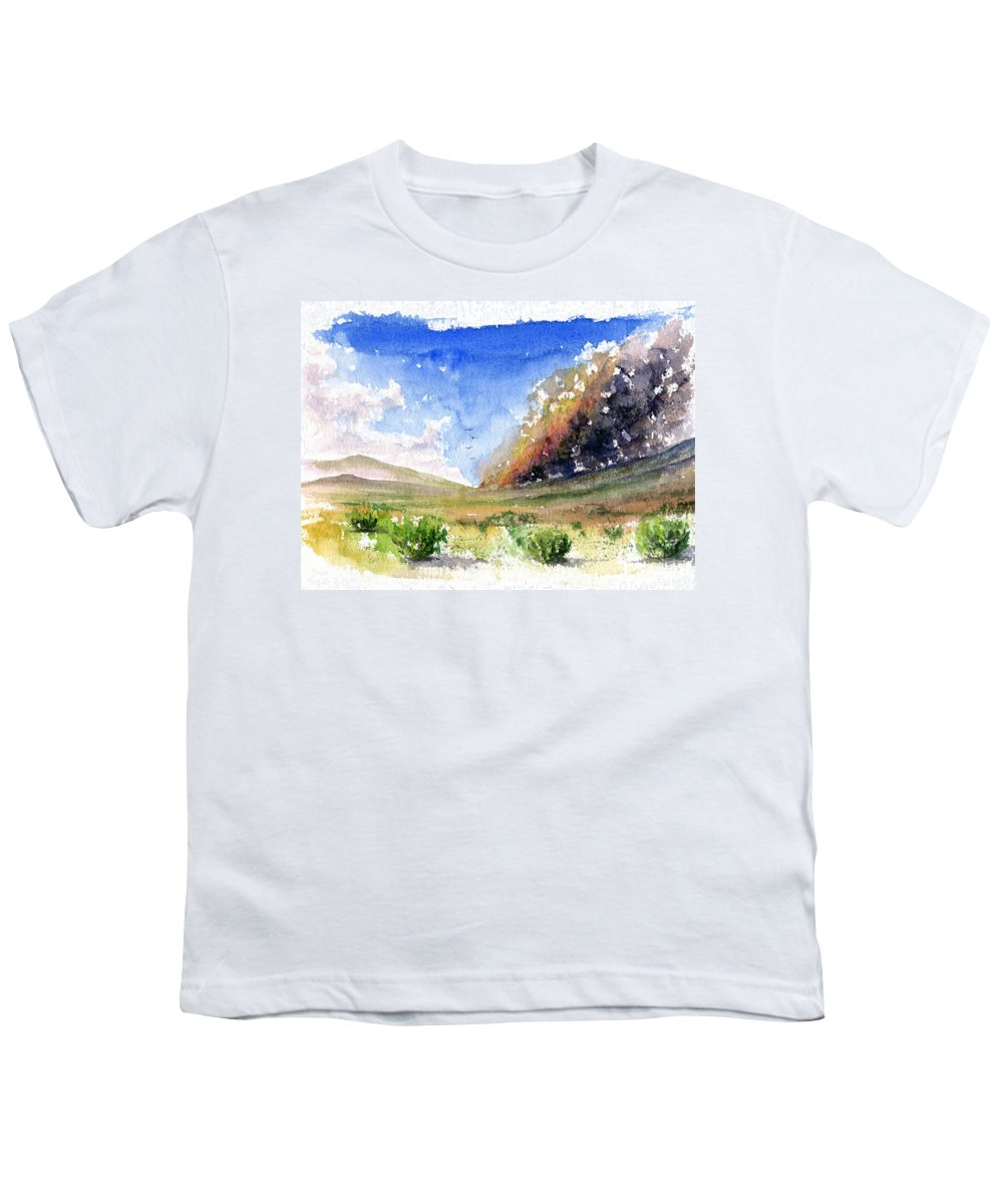 Fire Youth T-Shirt featuring the painting Fire In The Desert 1 by John D Benson