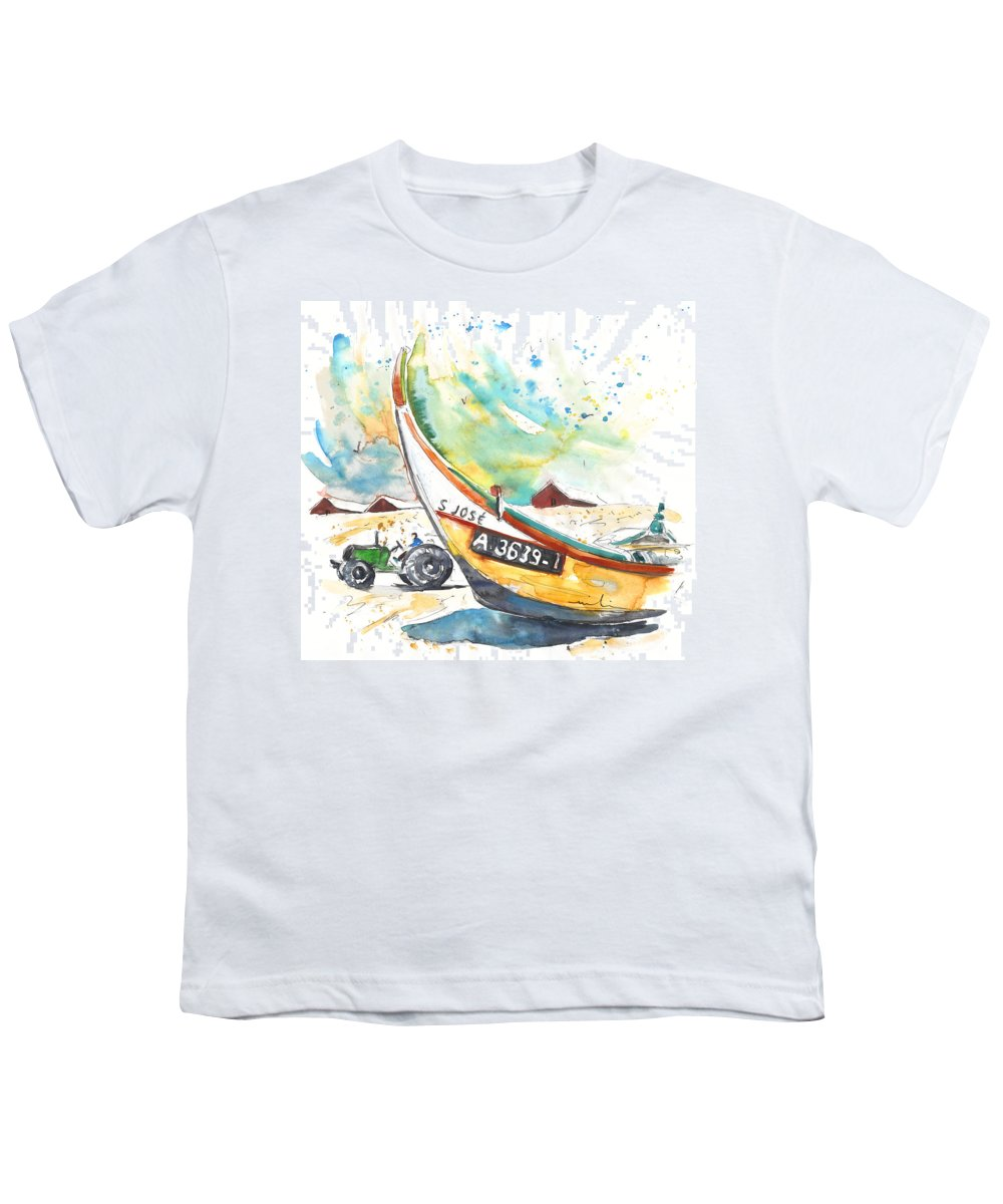 Portugal Youth T-Shirt featuring the painting Fisherboat In Praia De Mira by Miki De Goodaboom