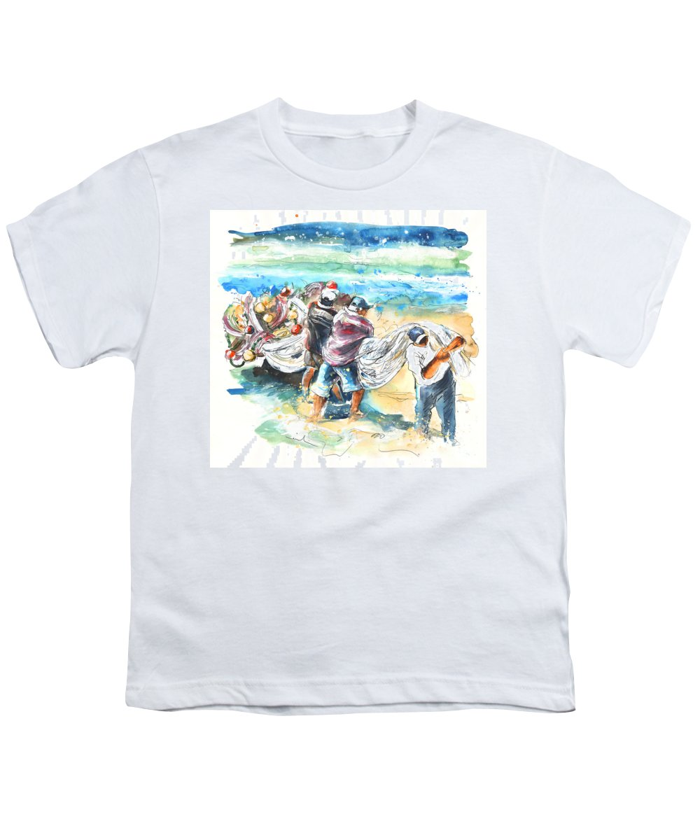 Portugal Youth T-Shirt featuring the painting Fishermen In Praia De Mira by Miki De Goodaboom