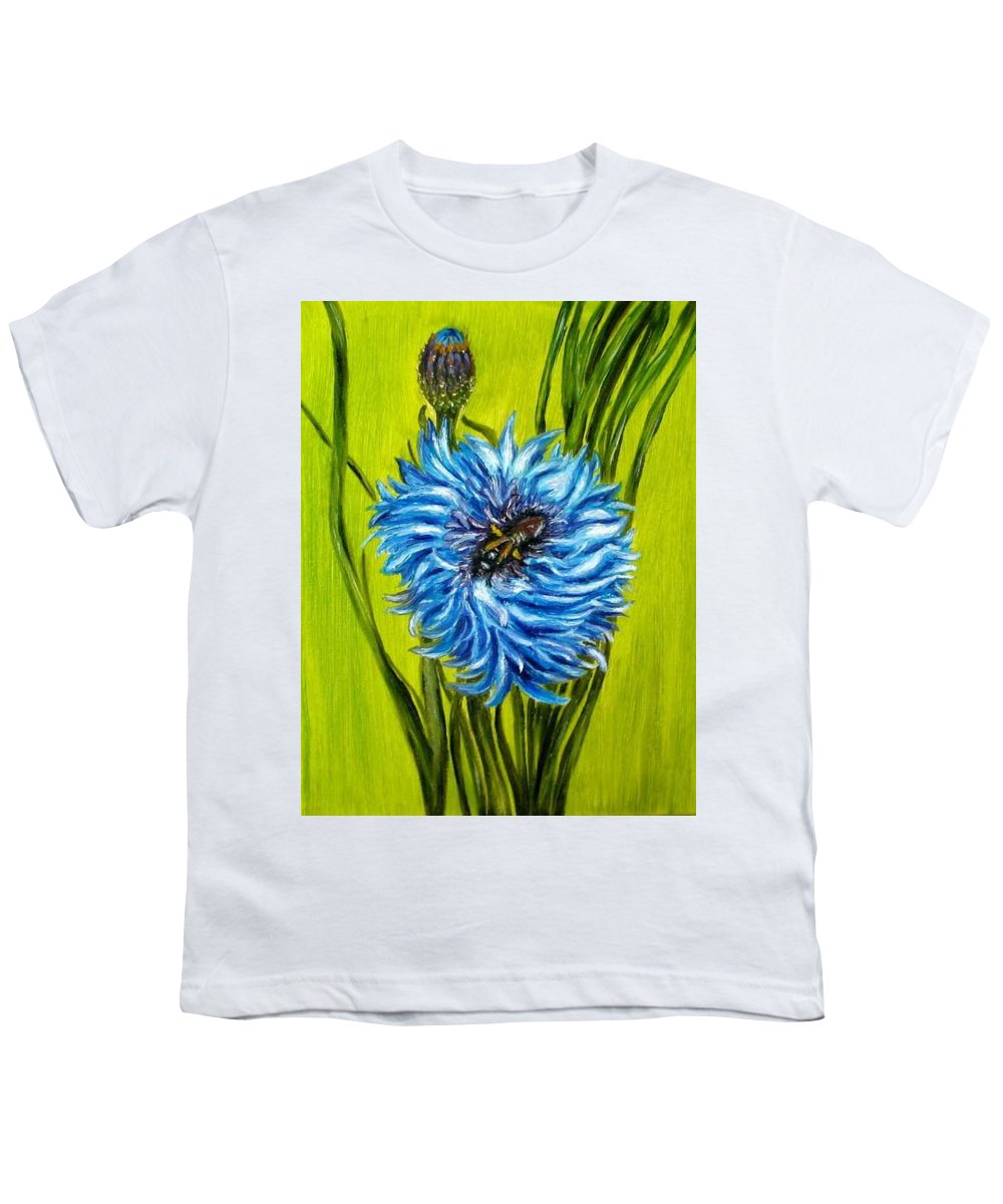 Flower Youth T-Shirt featuring the painting Flower And Bee Oil Painting by Natalja Picugina