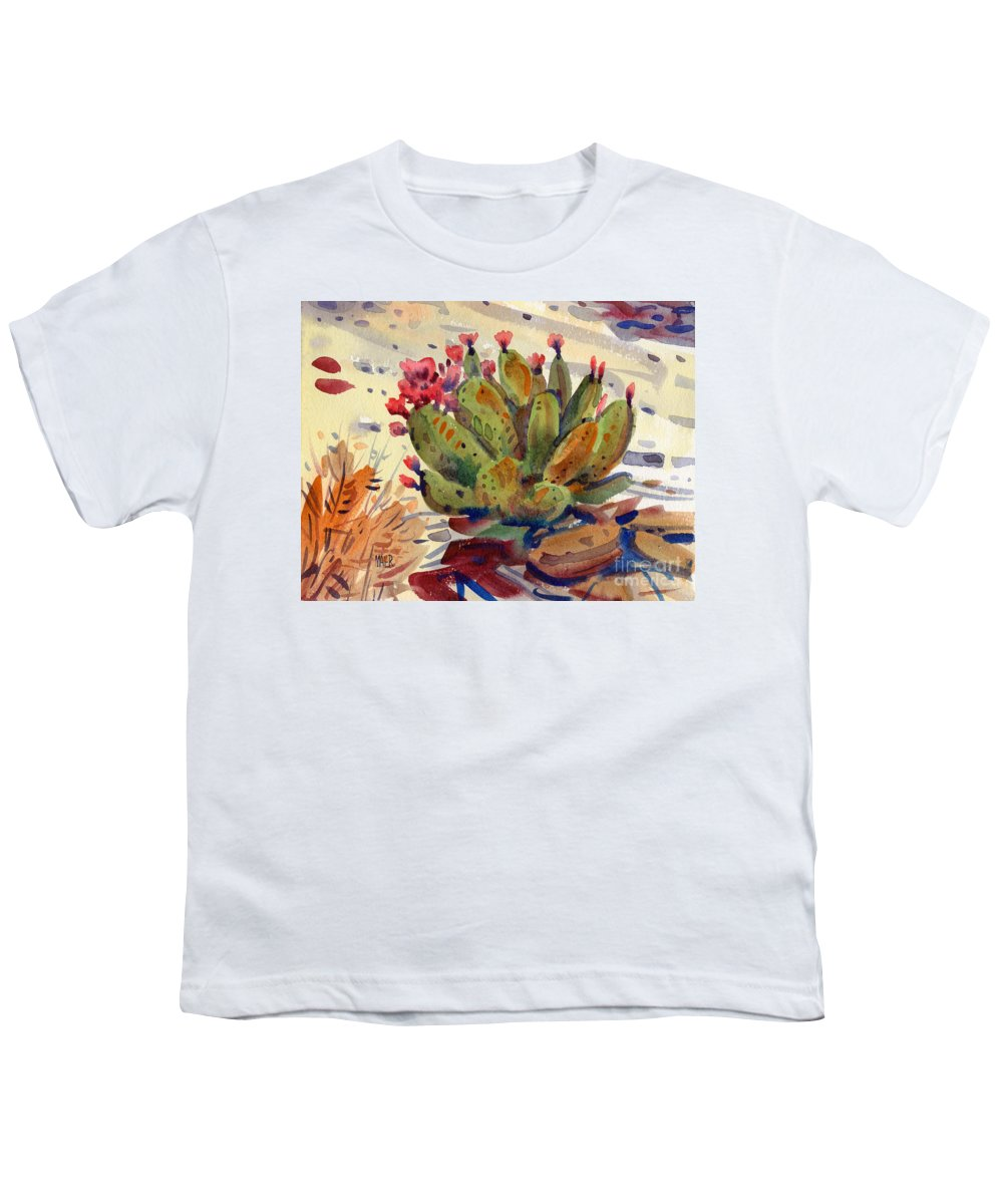 Opuntia Cactus Youth T-Shirt featuring the painting Flowering Opuntia by Donald Maier