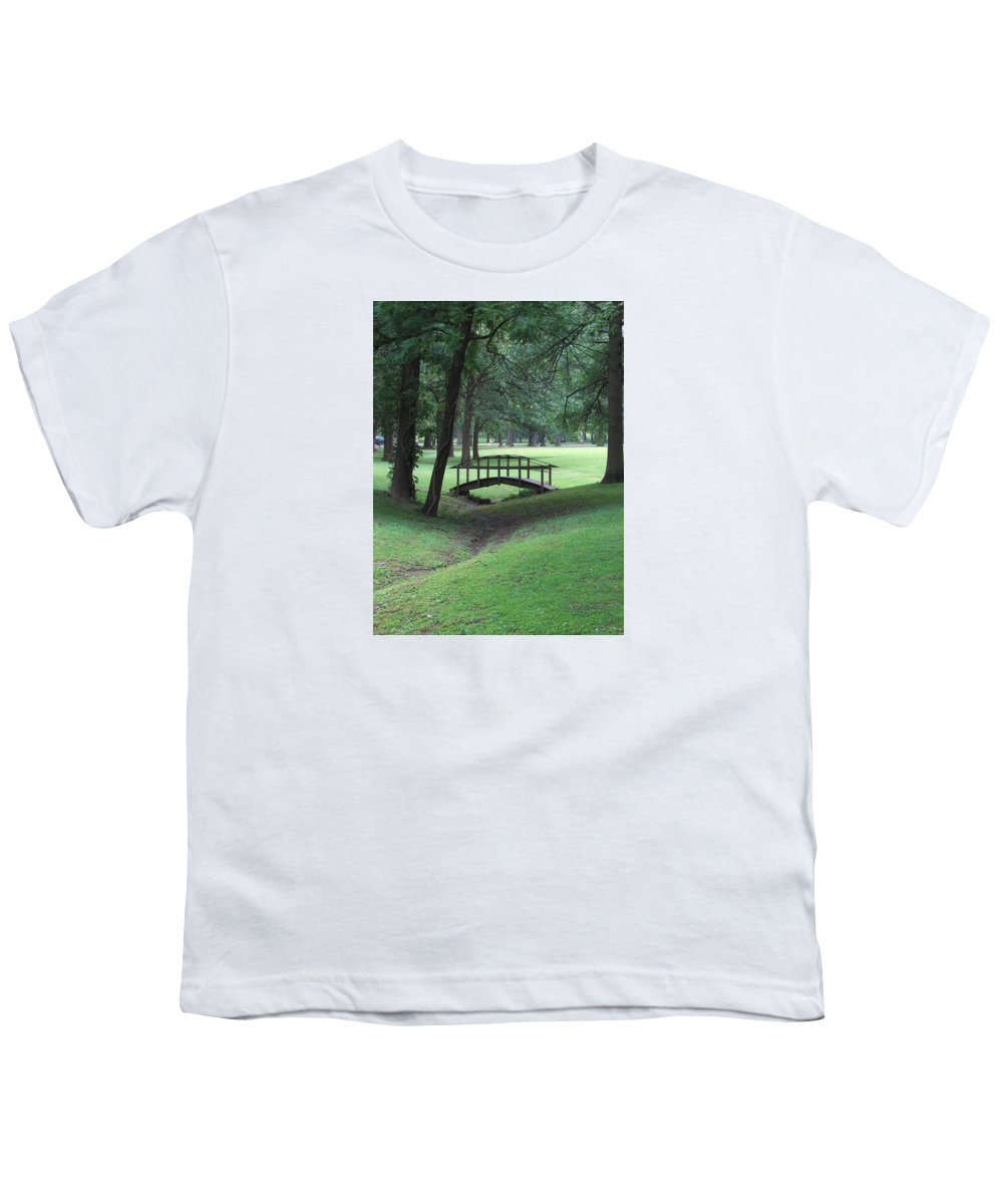 Bridge Youth T-Shirt featuring the photograph Foot Bridge In The Park by J R Seymour